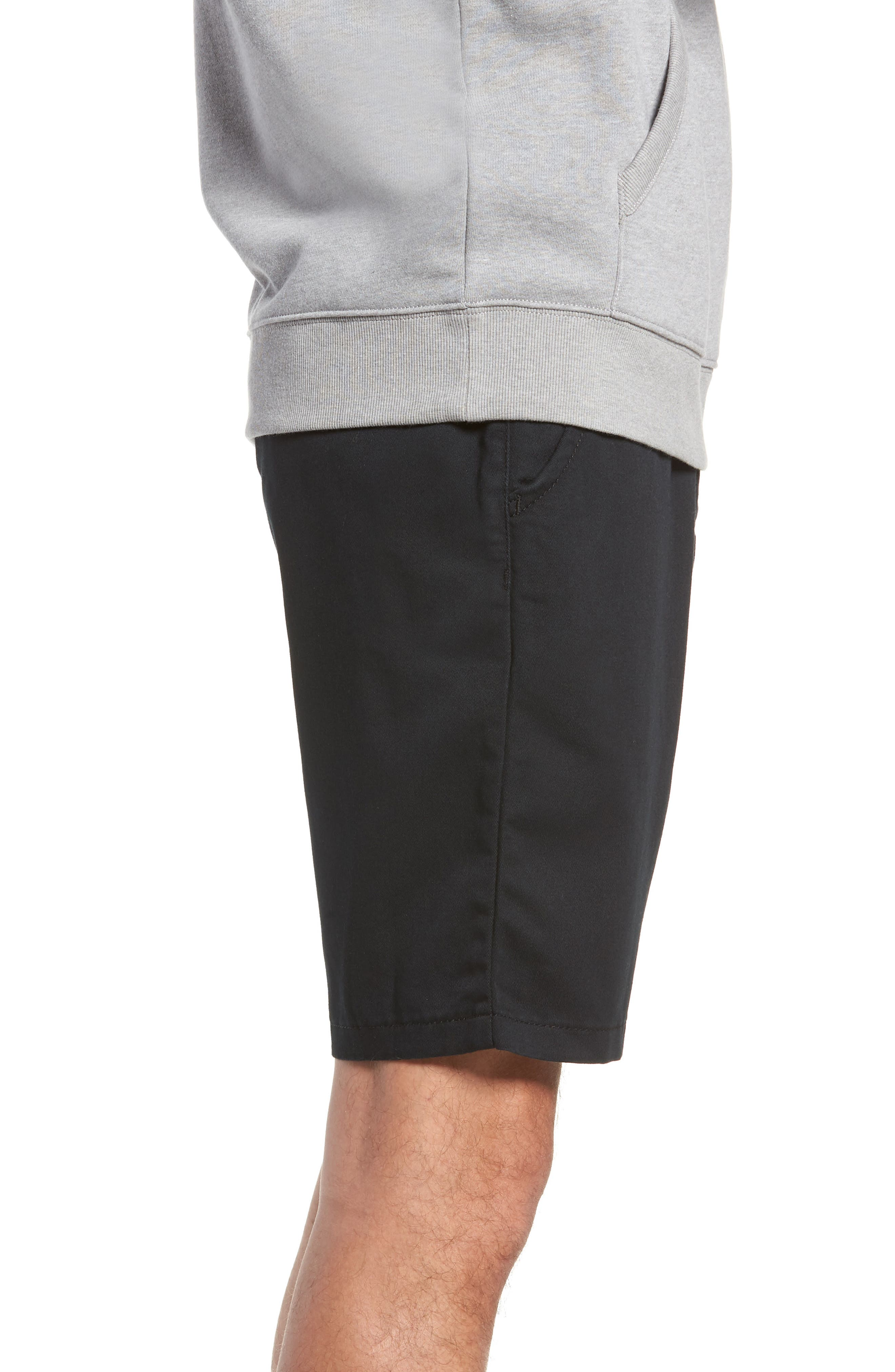 Stretch Twill Chino Shorts,                             Alternate thumbnail 3, color,                             BLACK