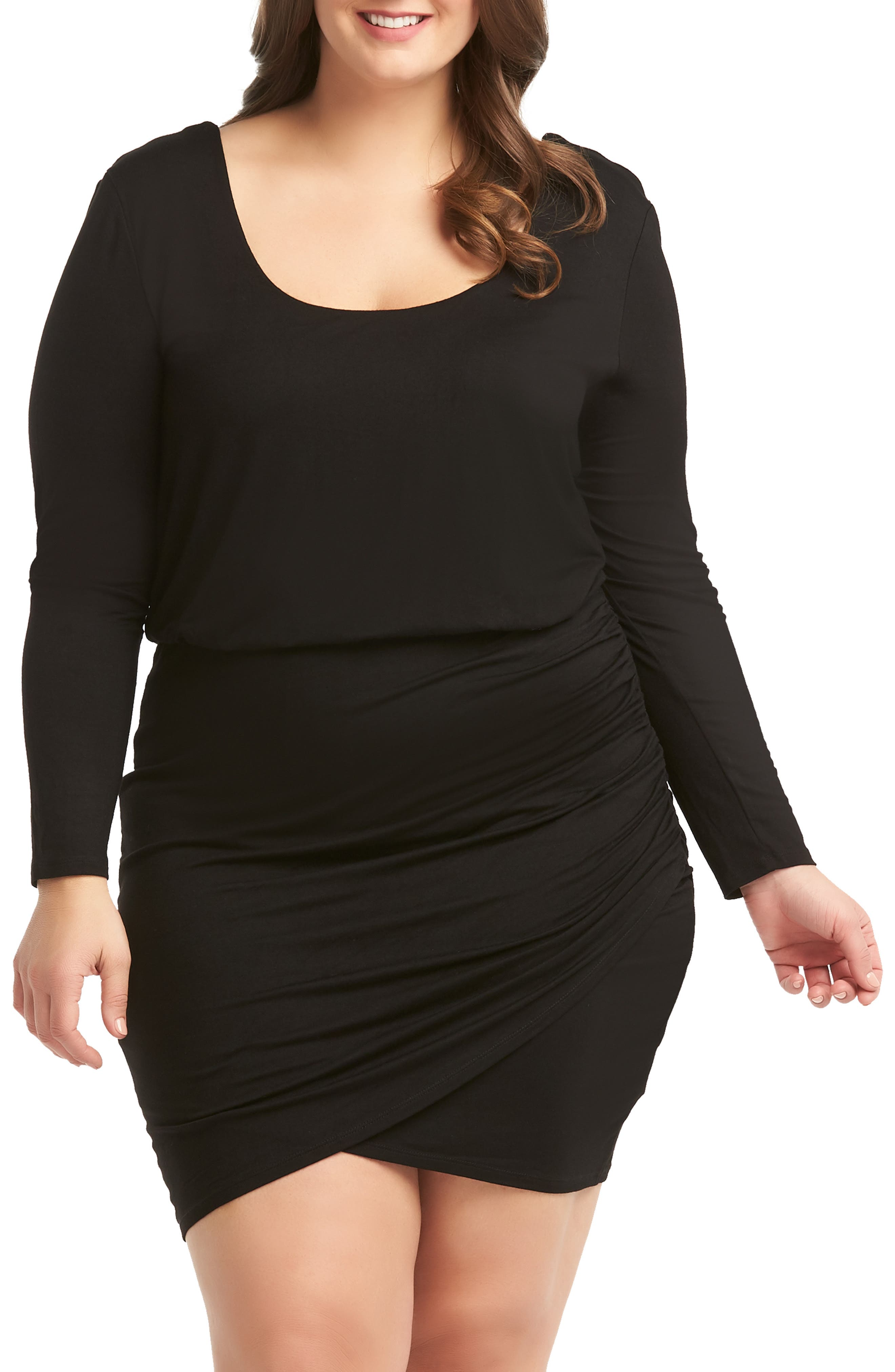 Plus Size Lemon Tart Dennis Ruched Wrap Look Dress, Black