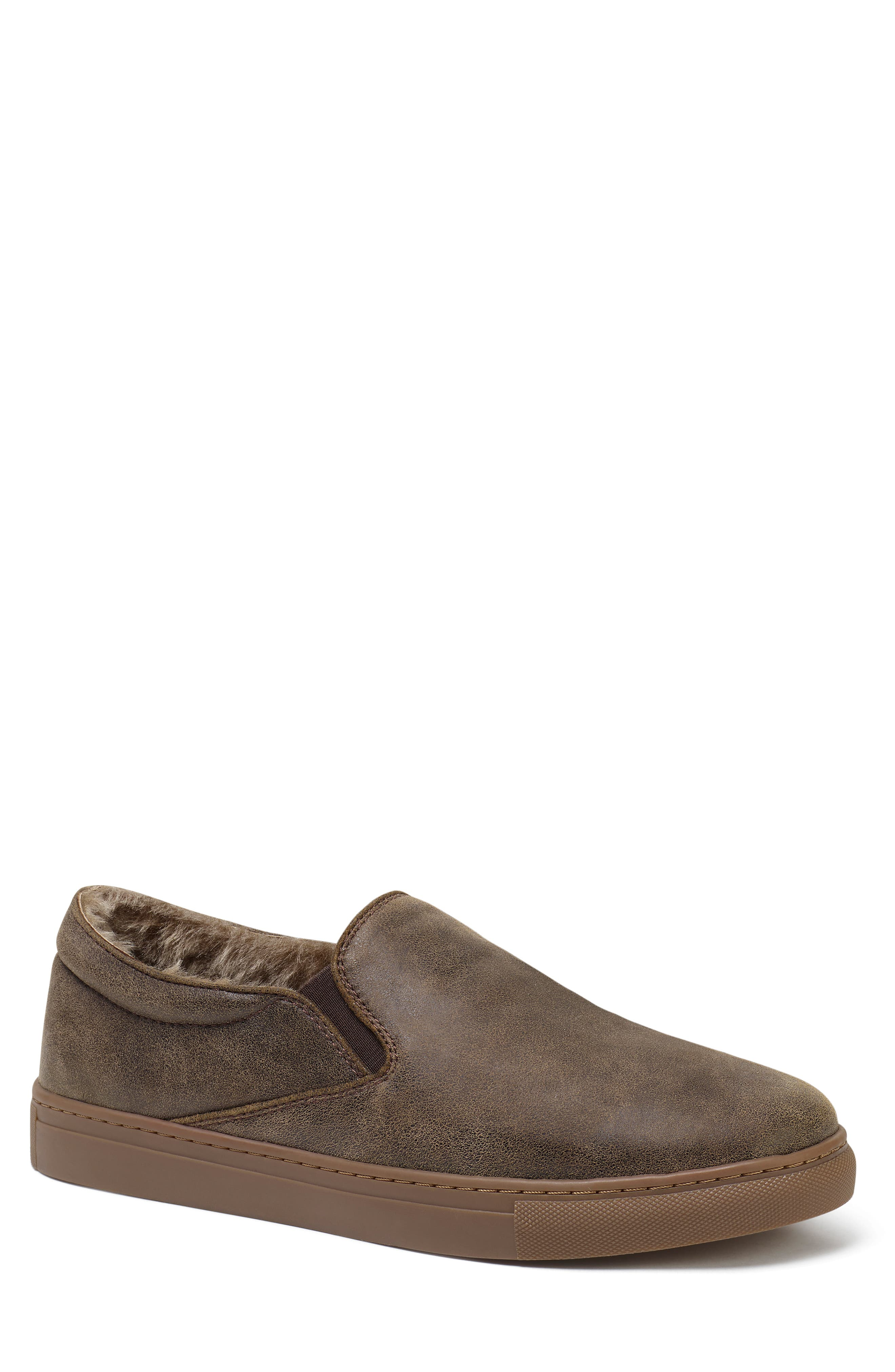 Alex Genuine Shearling Slip-On Sneaker,                             Main thumbnail 1, color,                             BROWN SUEDE