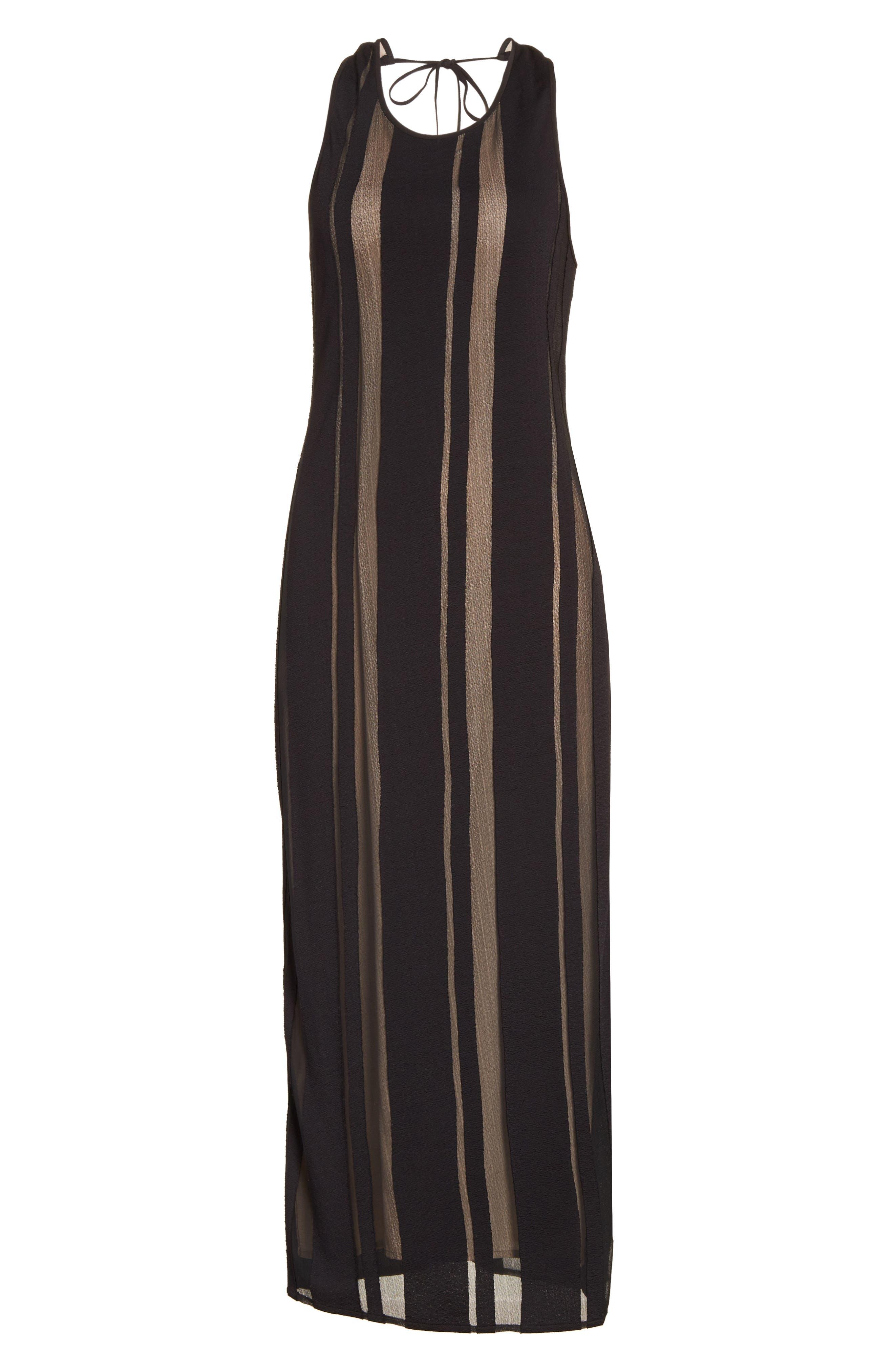 Talla Sheer Stripe Midi Dress,                             Alternate thumbnail 6, color,                             009