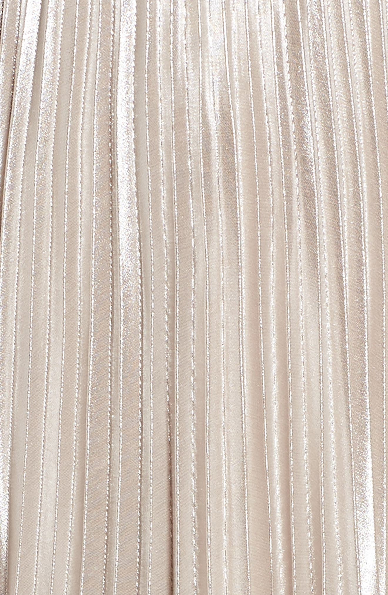 Pleated Metallic Dress,                             Alternate thumbnail 6, color,                             CHAMPAGNE