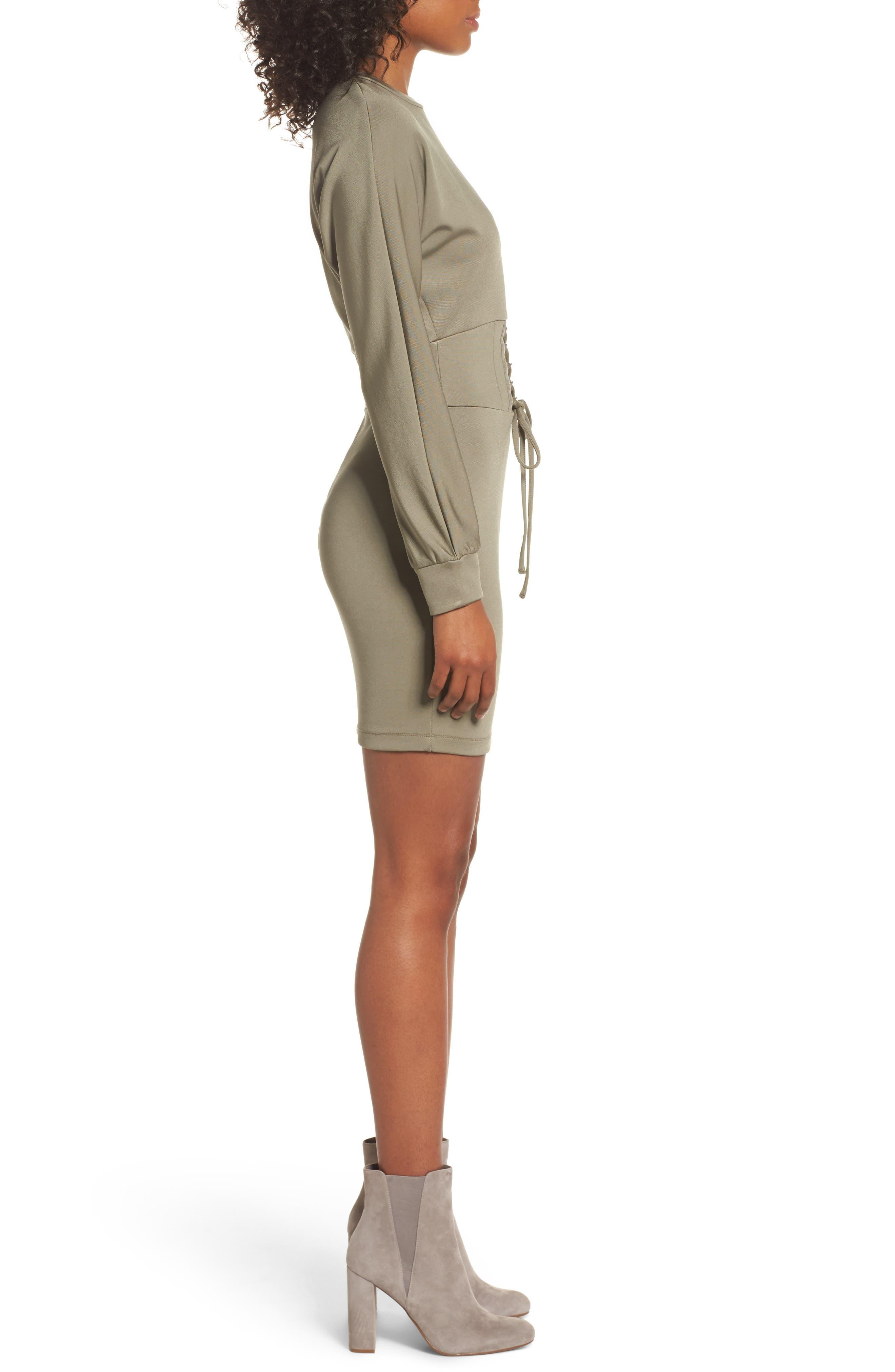Mila Corset Body-Con Dress,                             Alternate thumbnail 3, color,