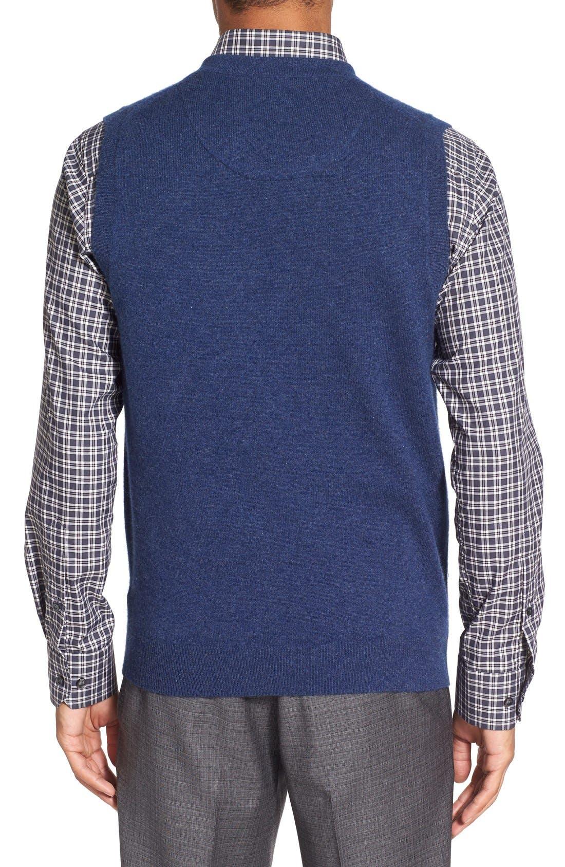 Cashmere V-Neck Sweater Vest,                             Alternate thumbnail 7, color,                             BLUE ESTATE HEATHER
