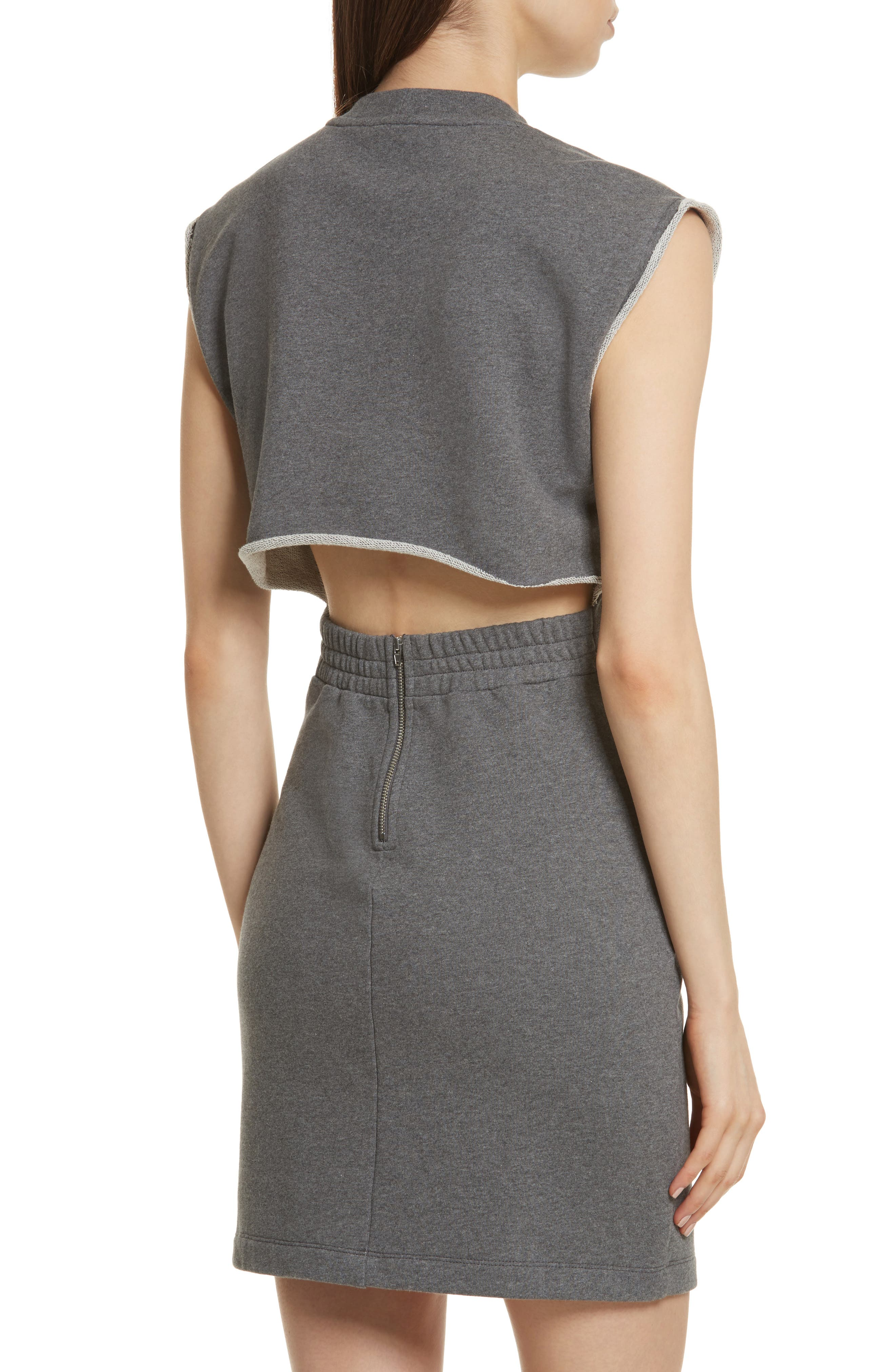 T by Alexander Wang French Terry Dress,                             Alternate thumbnail 4, color,                             020