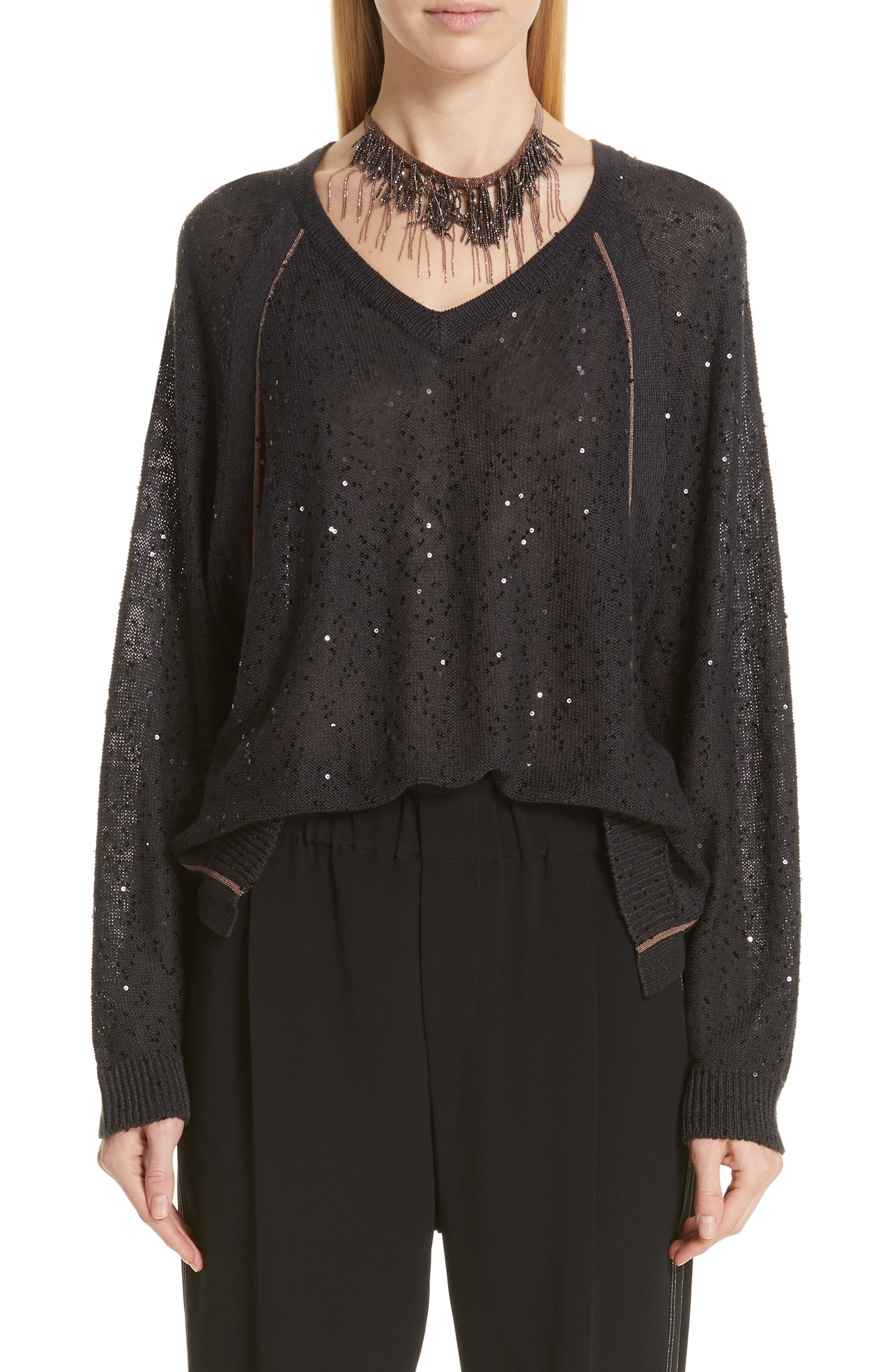 Brunello Cucinelli Sequin & Monili Embellished Linen & Silk Sweater, Black