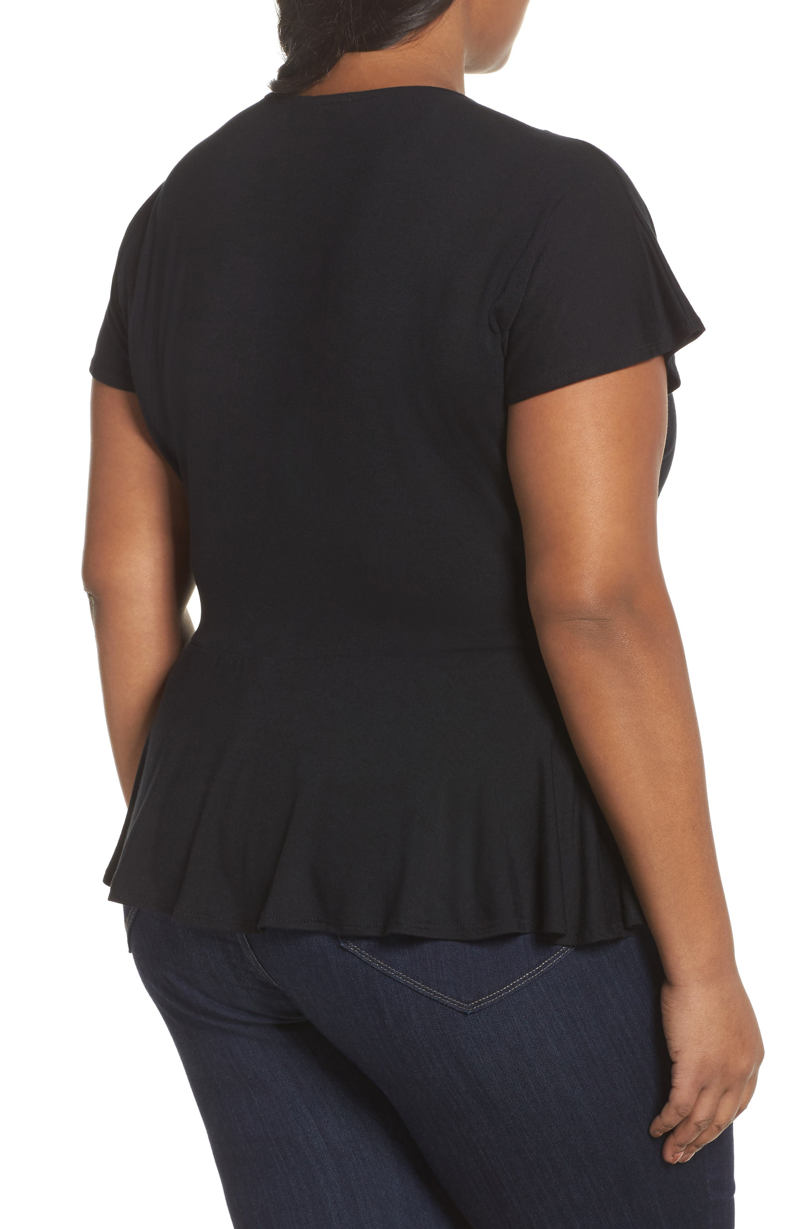 Ruffle Sleeve Wrap Top,                             Alternate thumbnail 4, color,