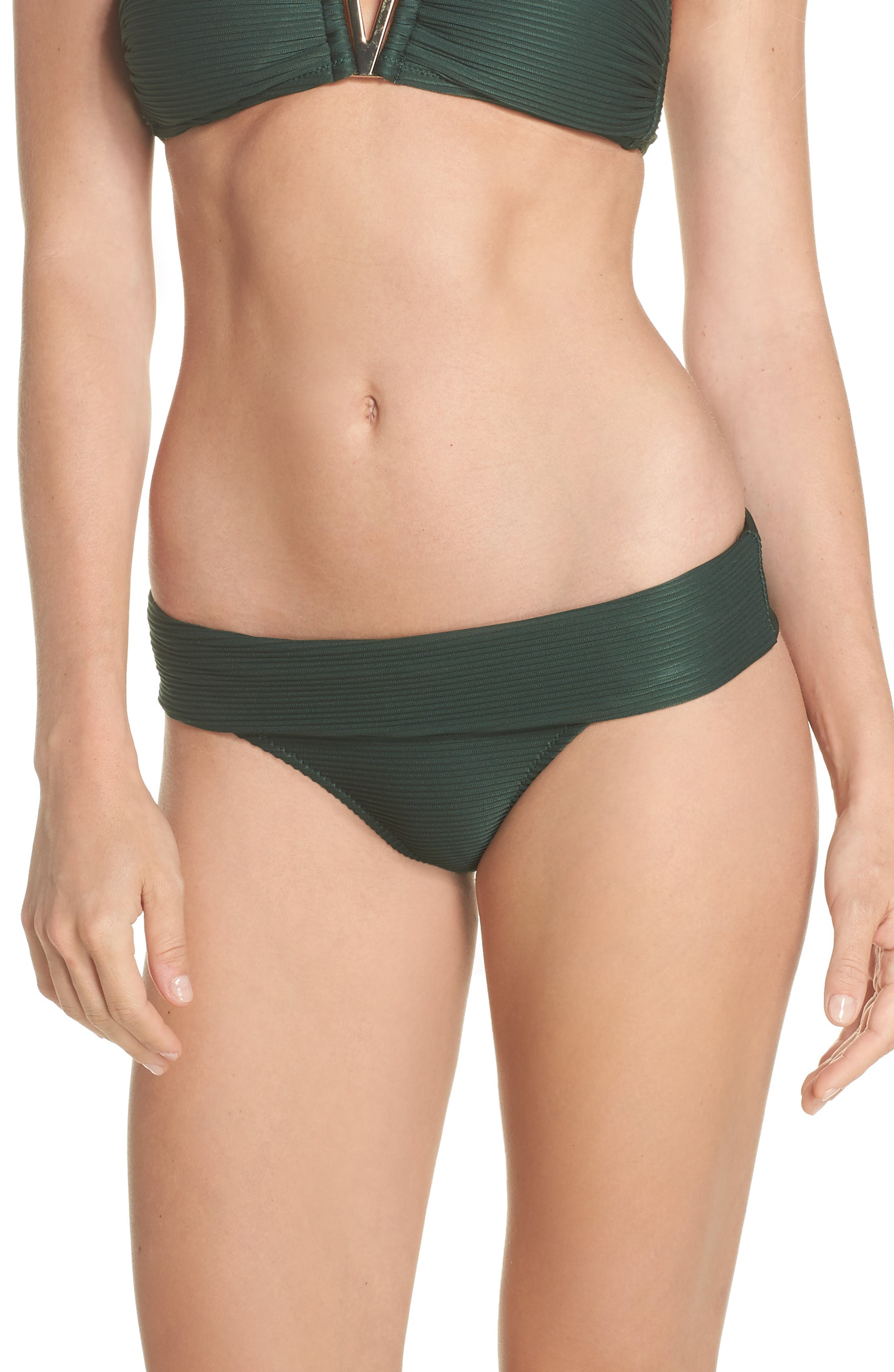 HEIDI KLEIN Fold-Over Pintucked Hipster Bikini Bottoms in Green