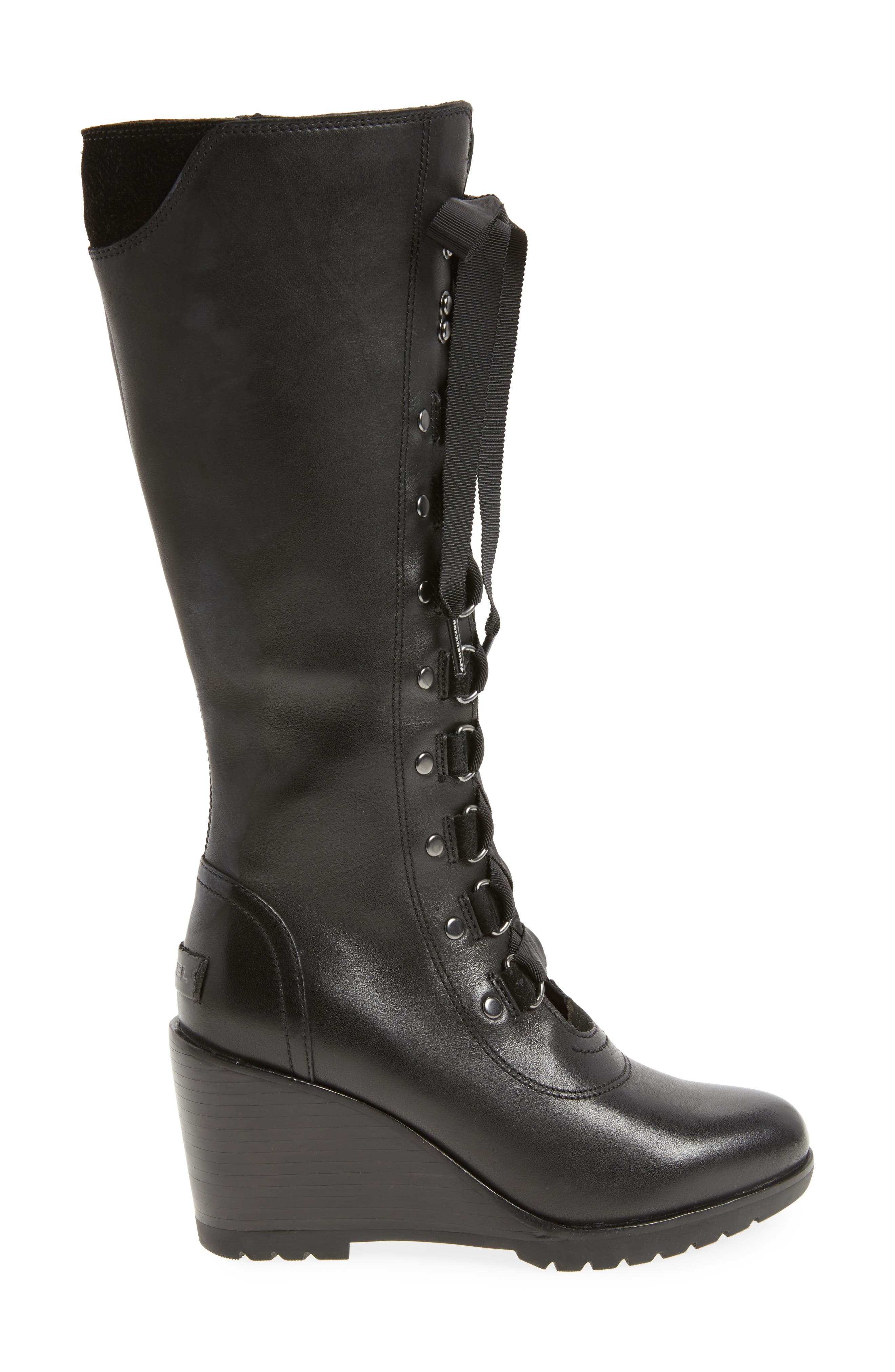 After Hours Lace Up Wedge Boot,                             Alternate thumbnail 3, color,                             010