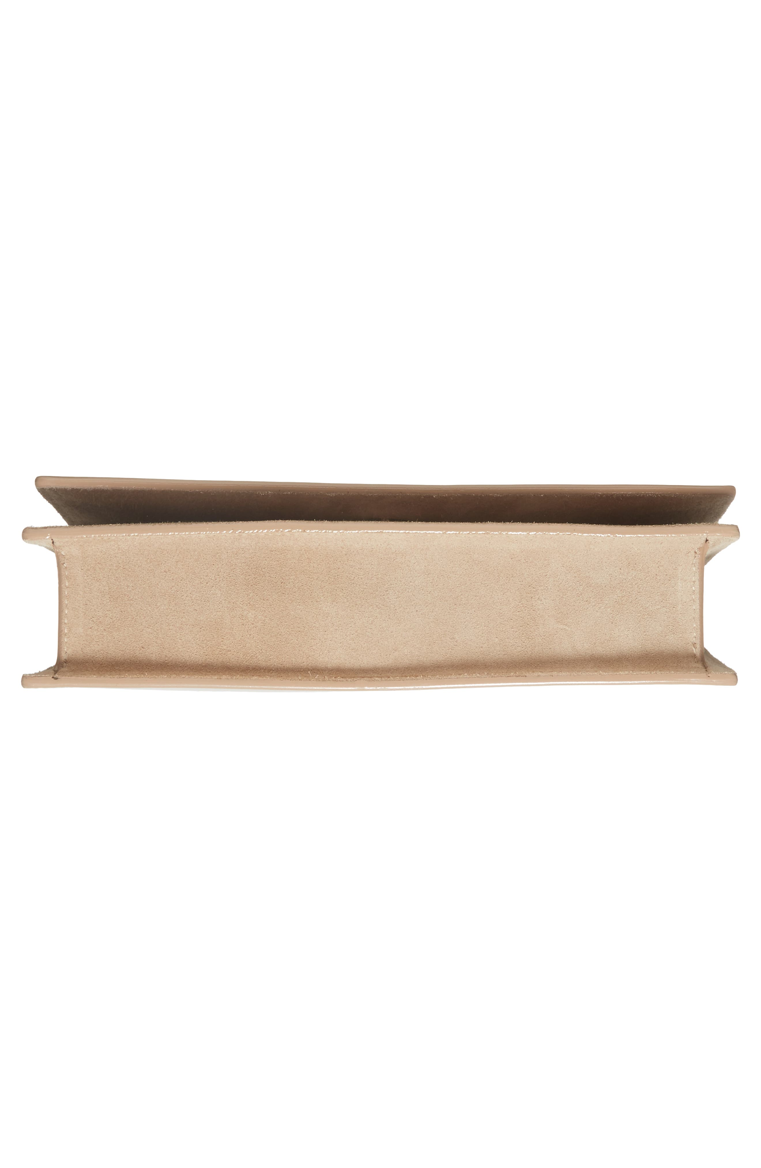 Florence Patent Leather & Suede Clutch,                             Alternate thumbnail 6, color,                             NUDE