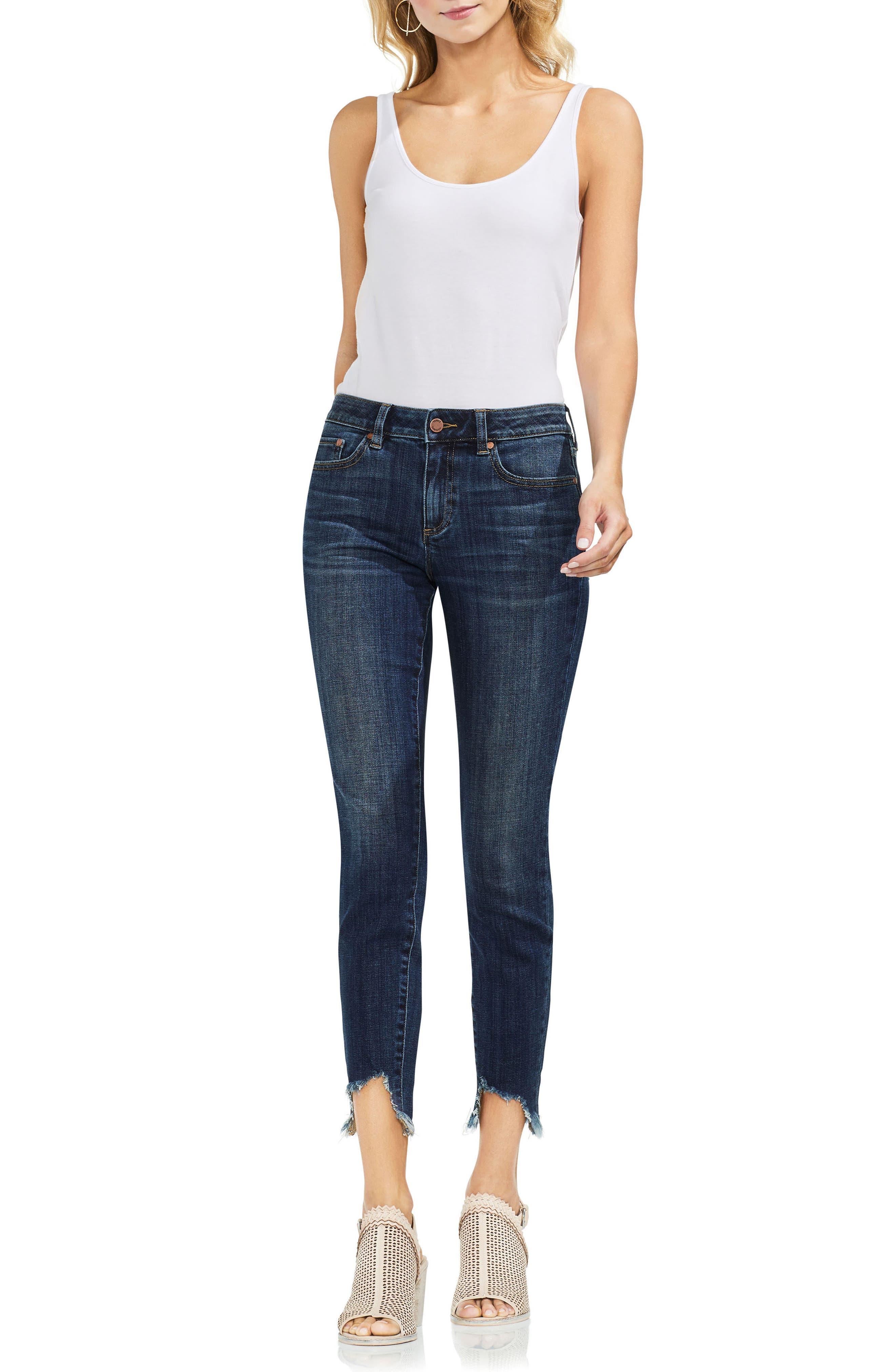 Uneven Hem Skinny Jeans,                             Main thumbnail 1, color,                             400