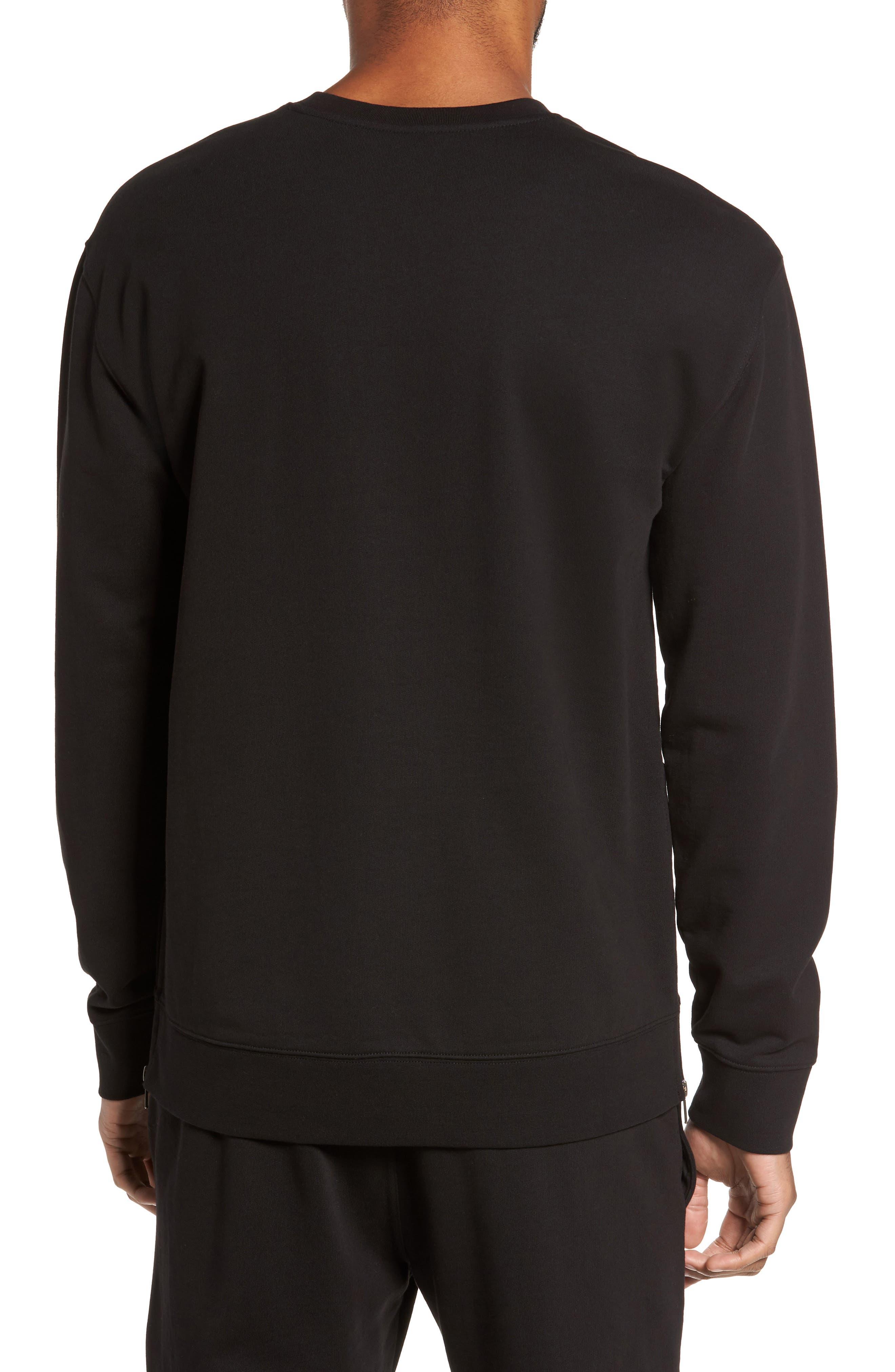 Side Zip Crewneck Sweatshirt,                             Alternate thumbnail 2, color,                             001
