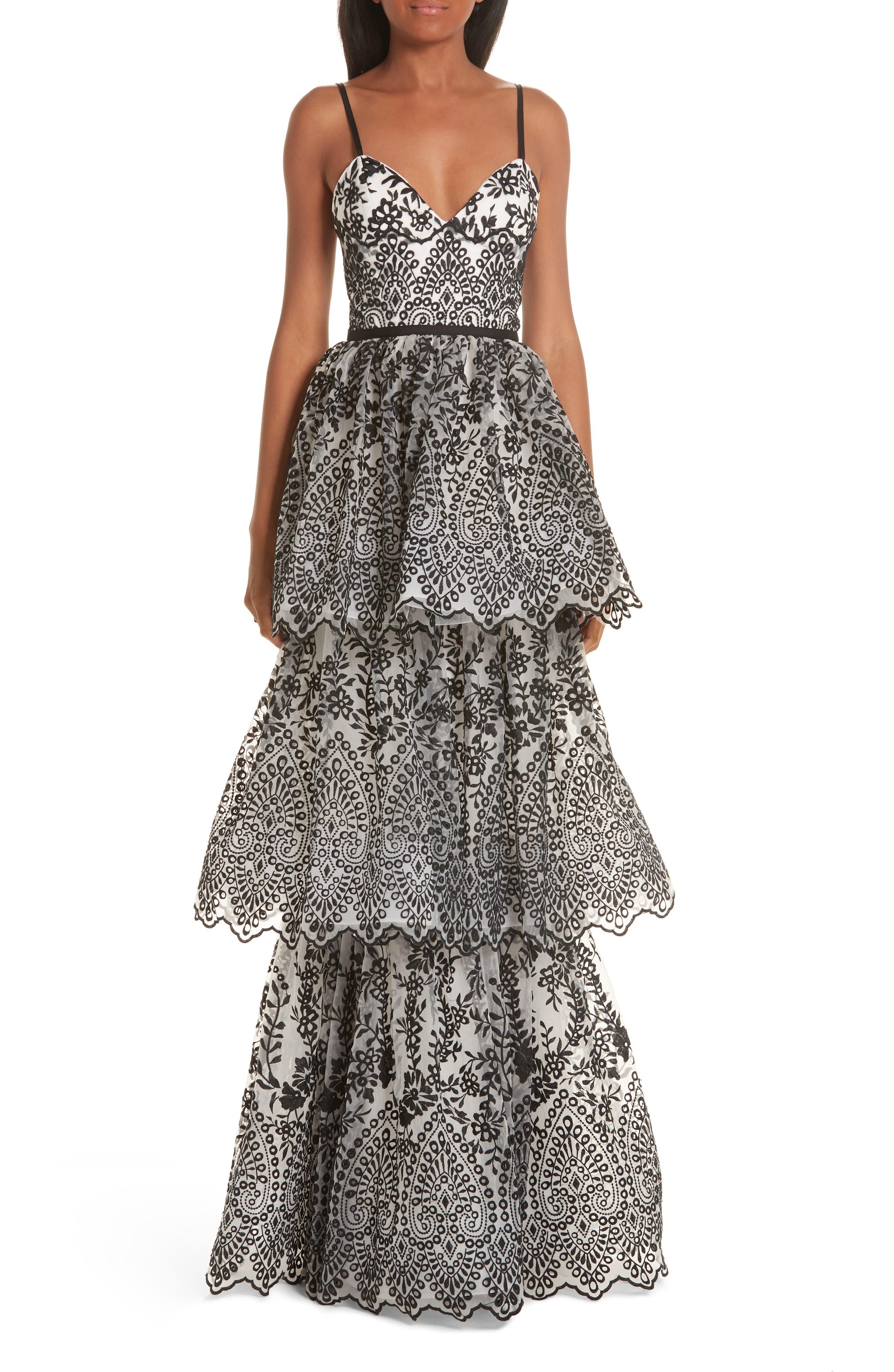 Marchesa Notte Tiered Eyelet Evening Dress, Ivory