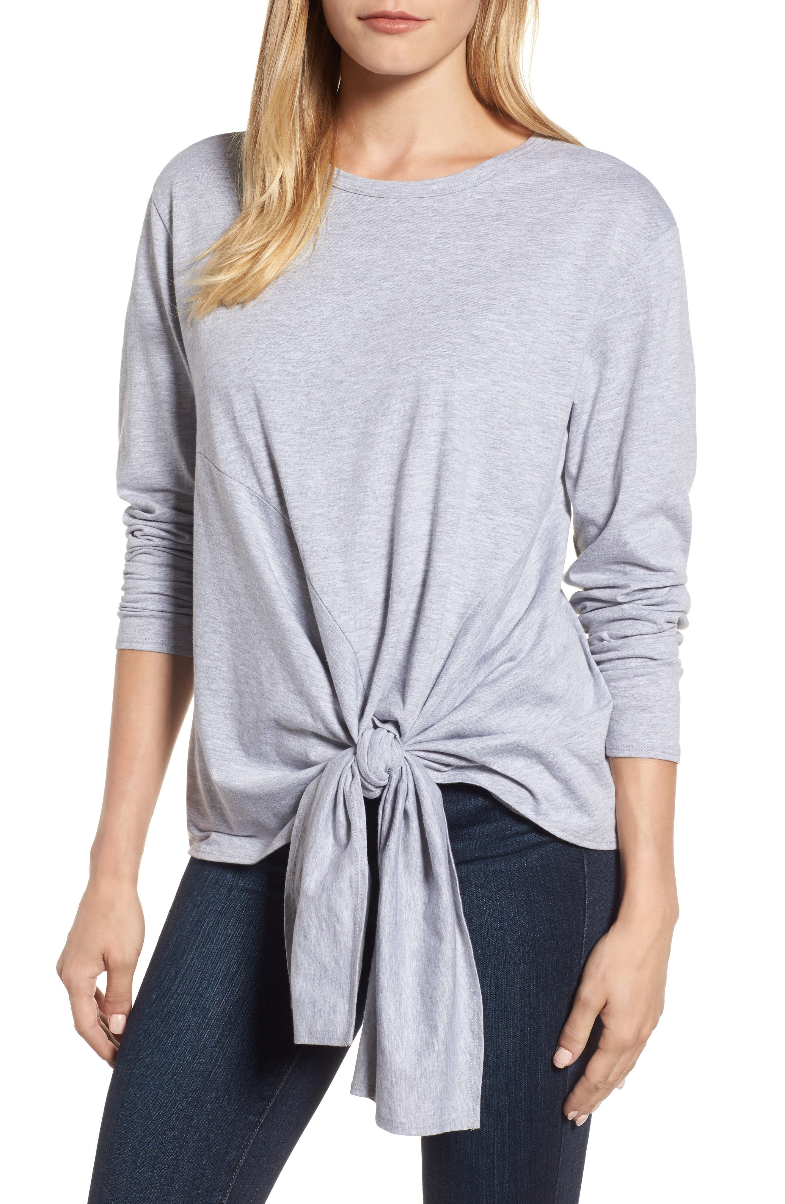 Long Sleeve Side Tie Tee,                             Main thumbnail 3, color,