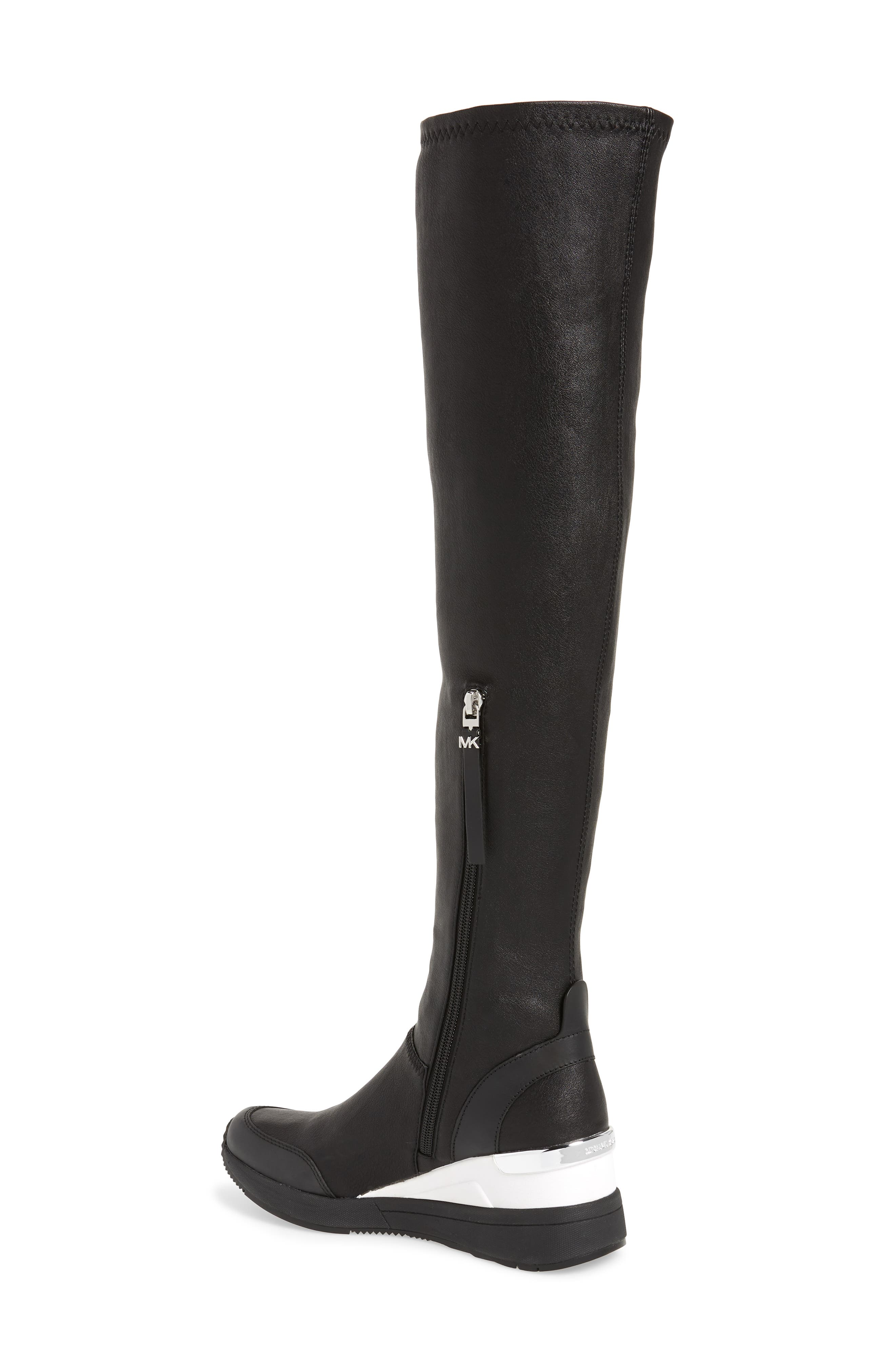 Tipton Wedge Over the Knee Rain Boot,                             Alternate thumbnail 2, color,                             BLACK FAUX LEATHER