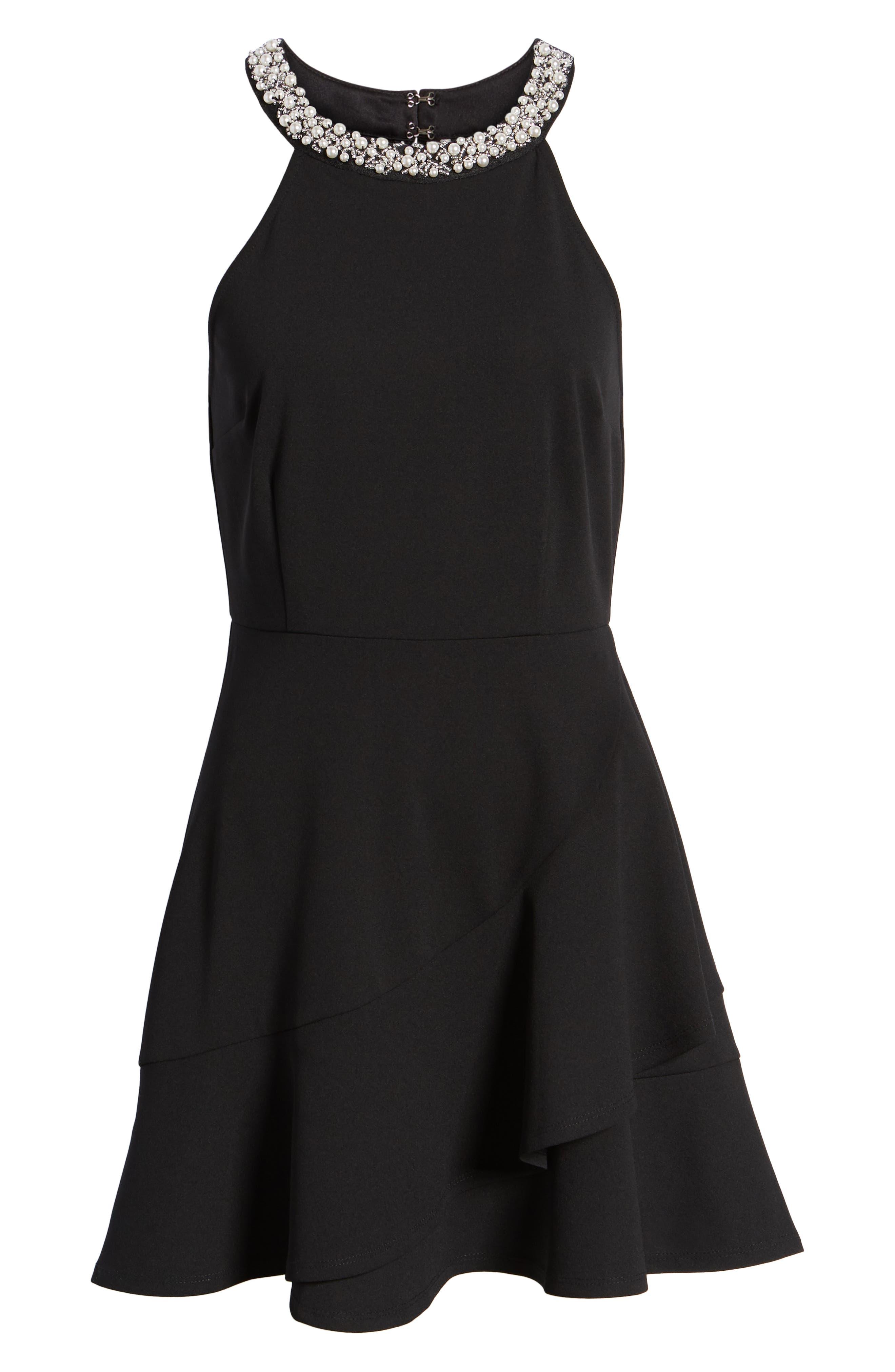 Pearl Neck Scuba Crepe Skater Dress,                             Alternate thumbnail 7, color,                             001