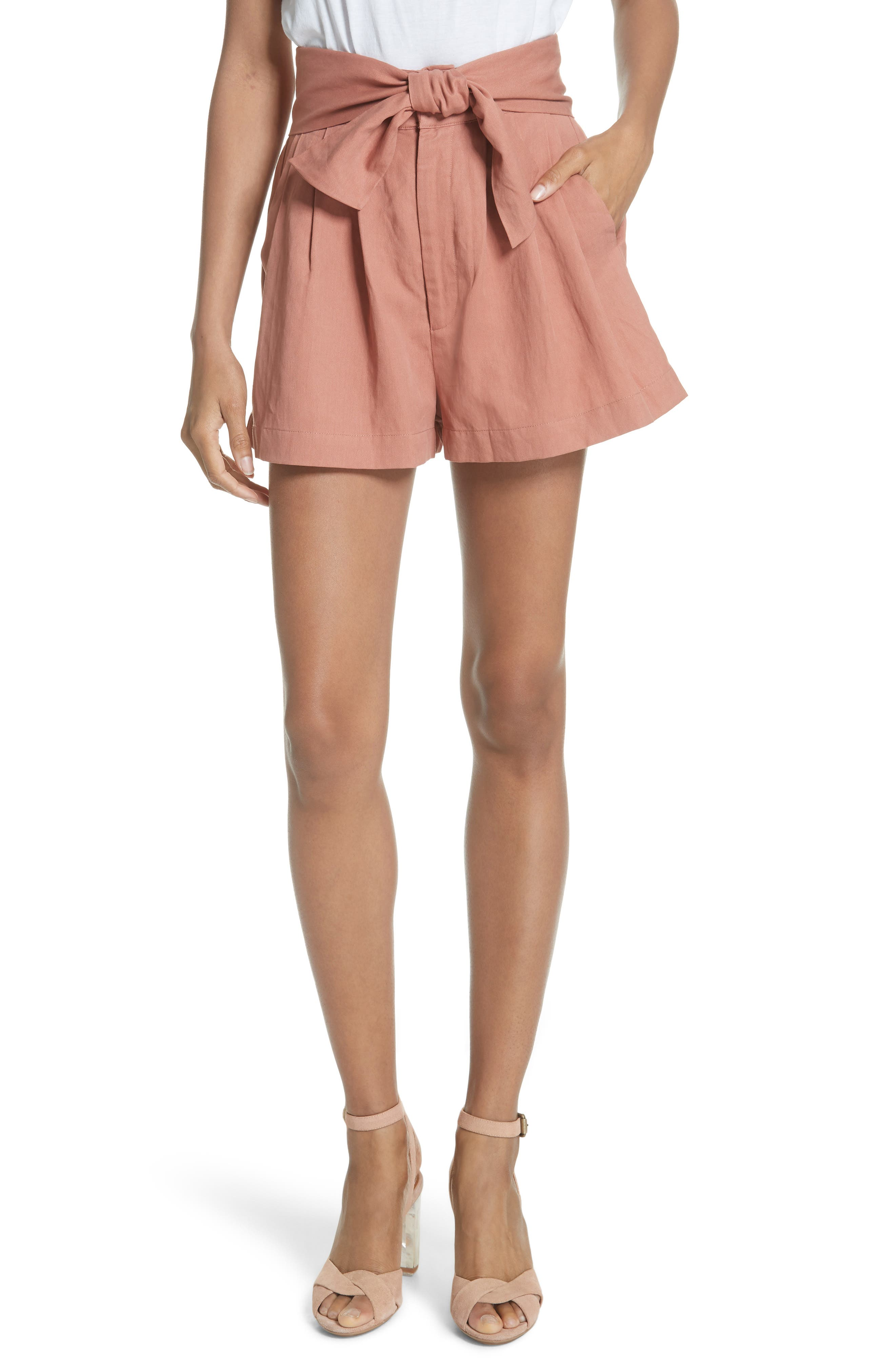 Martim Tie Waist Twill Shorts,                         Main,                         color, CLAY