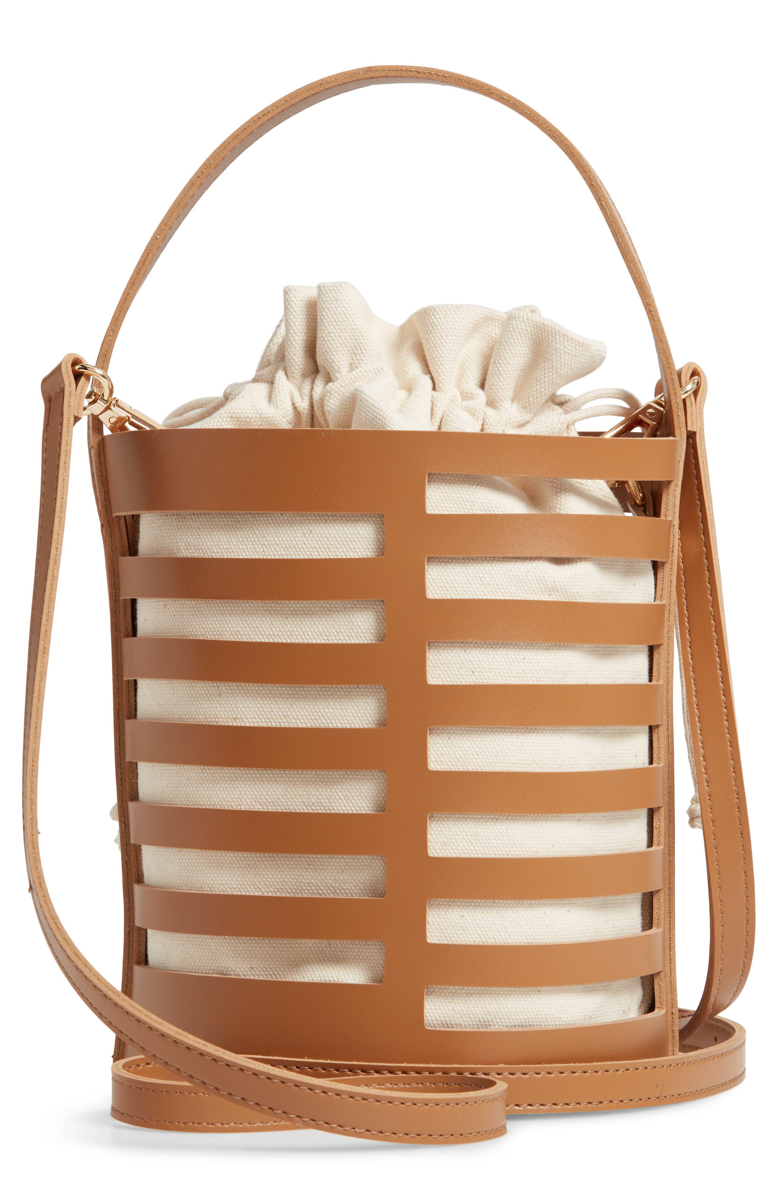 Cutout Round Bucket Crossbody Bag,                             Alternate thumbnail 3, color,                             TAN