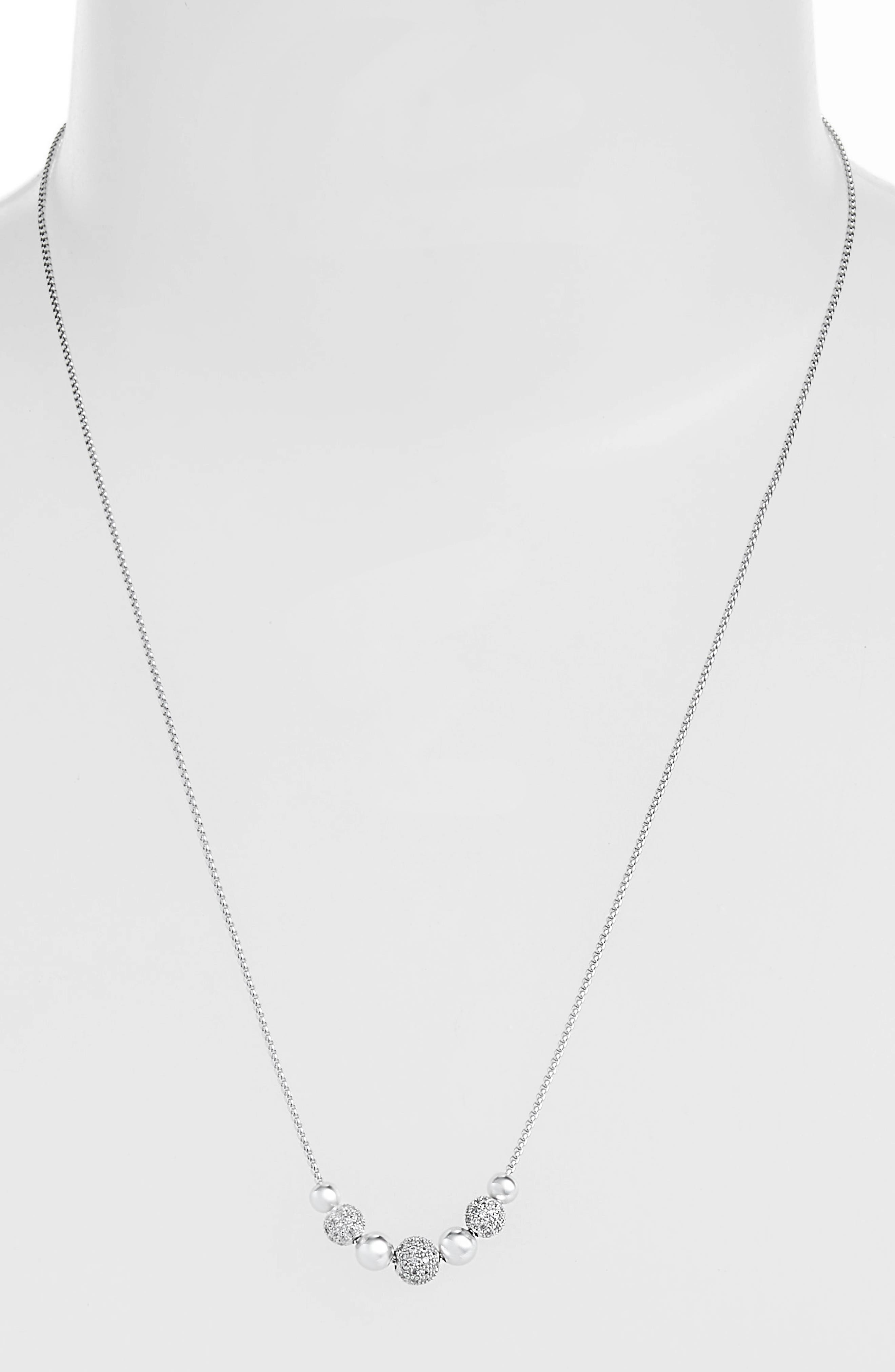 Metal Pavé Ball Adjustable Slide Necklace,                             Alternate thumbnail 2, color,                             CLEAR/ SILVER