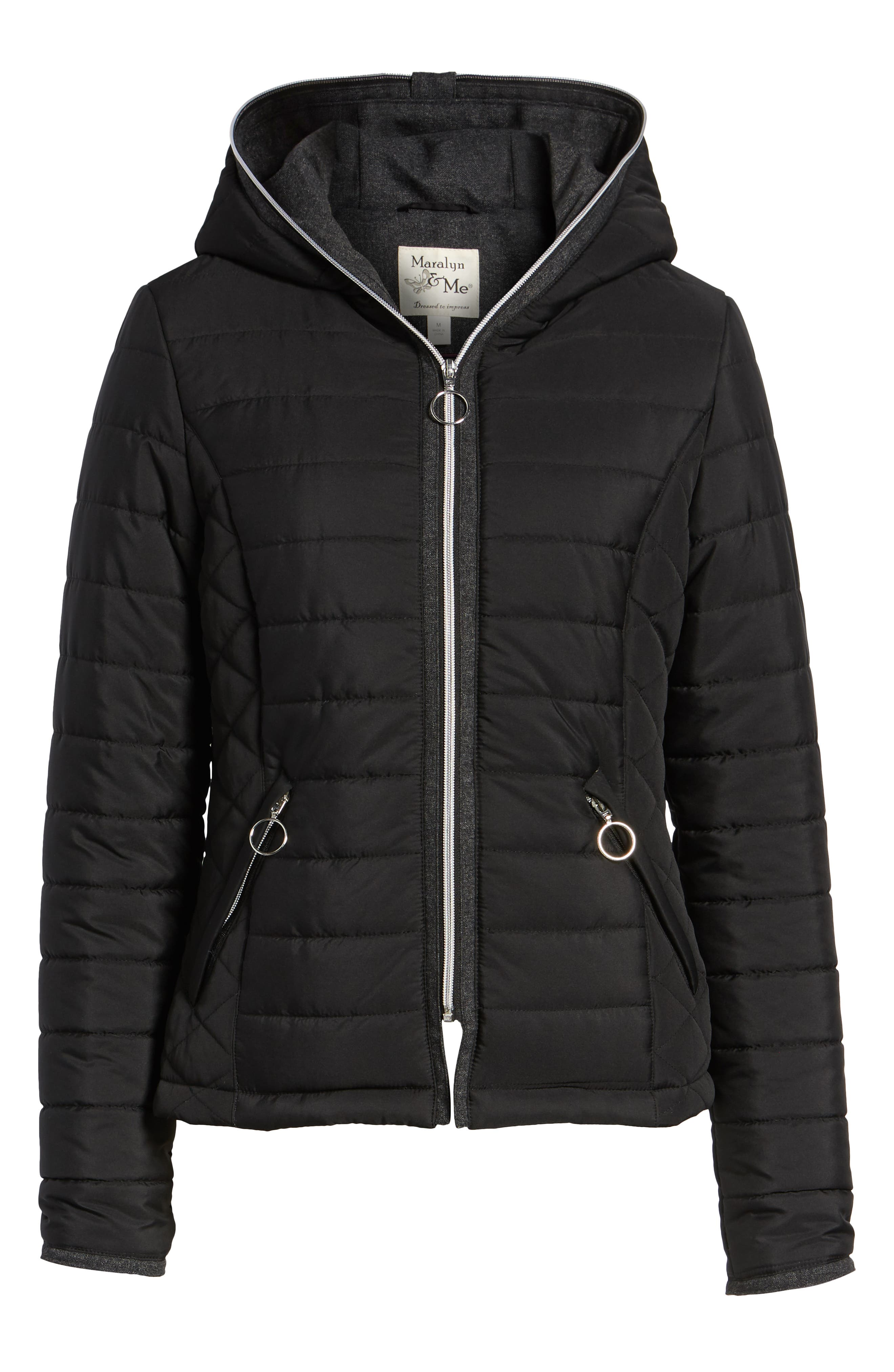 Hooded Quilted Jacket,                             Alternate thumbnail 6, color,                             BLACK