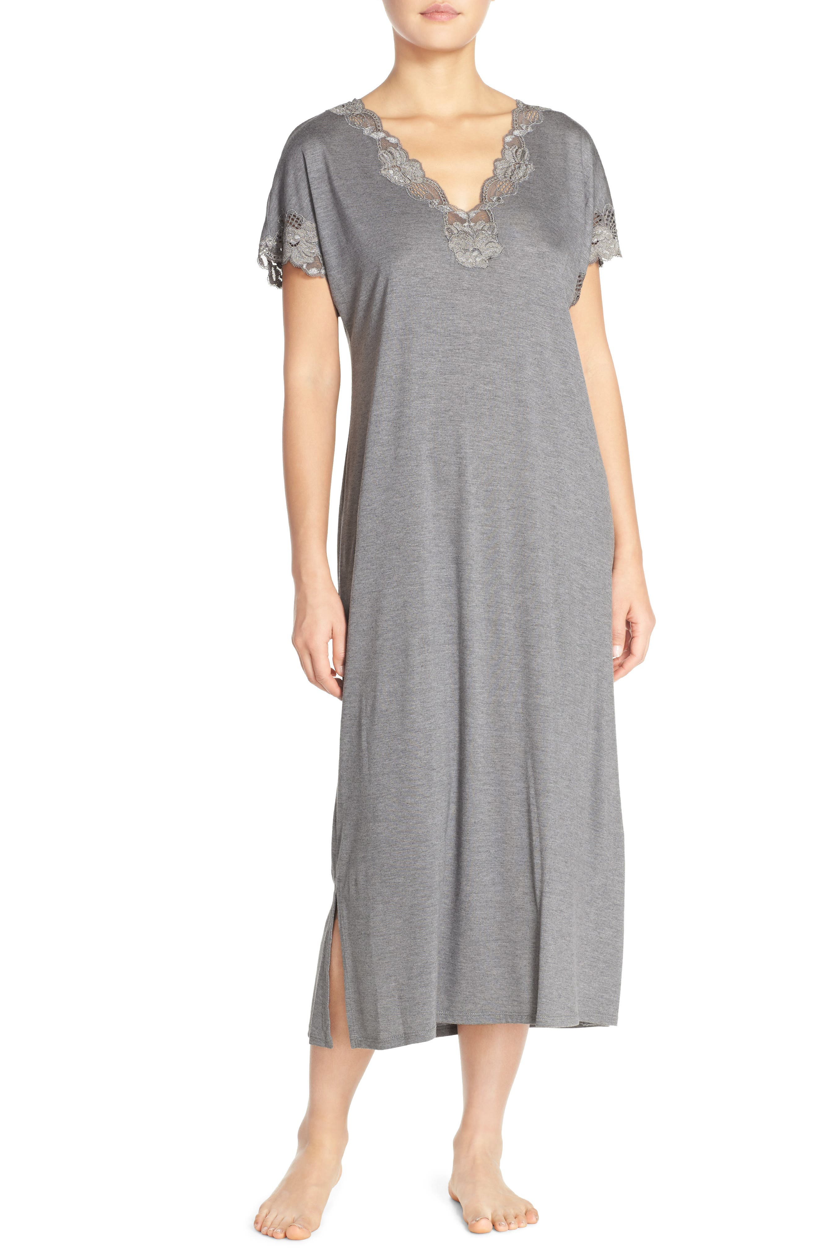 'Zen' Short Sleeve Nightgown,                             Alternate thumbnail 16, color,
