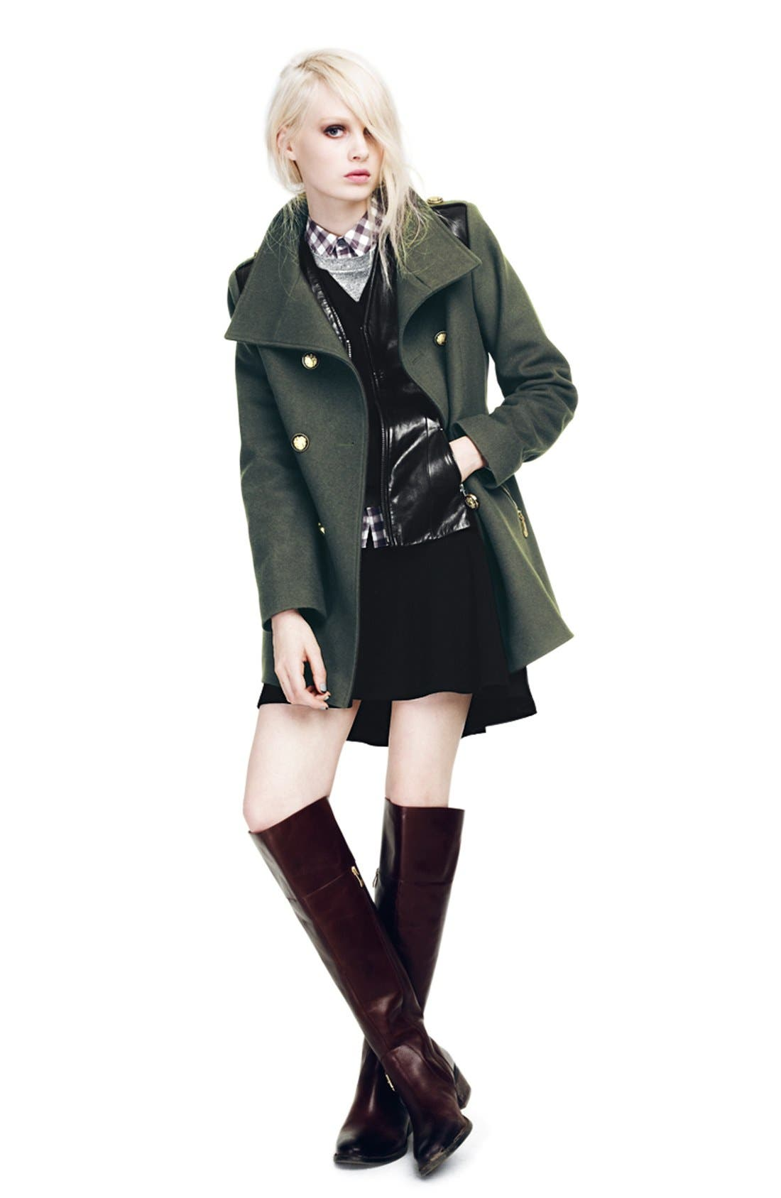 Wool Blend Military Peacoat,                             Alternate thumbnail 3, color,                             001