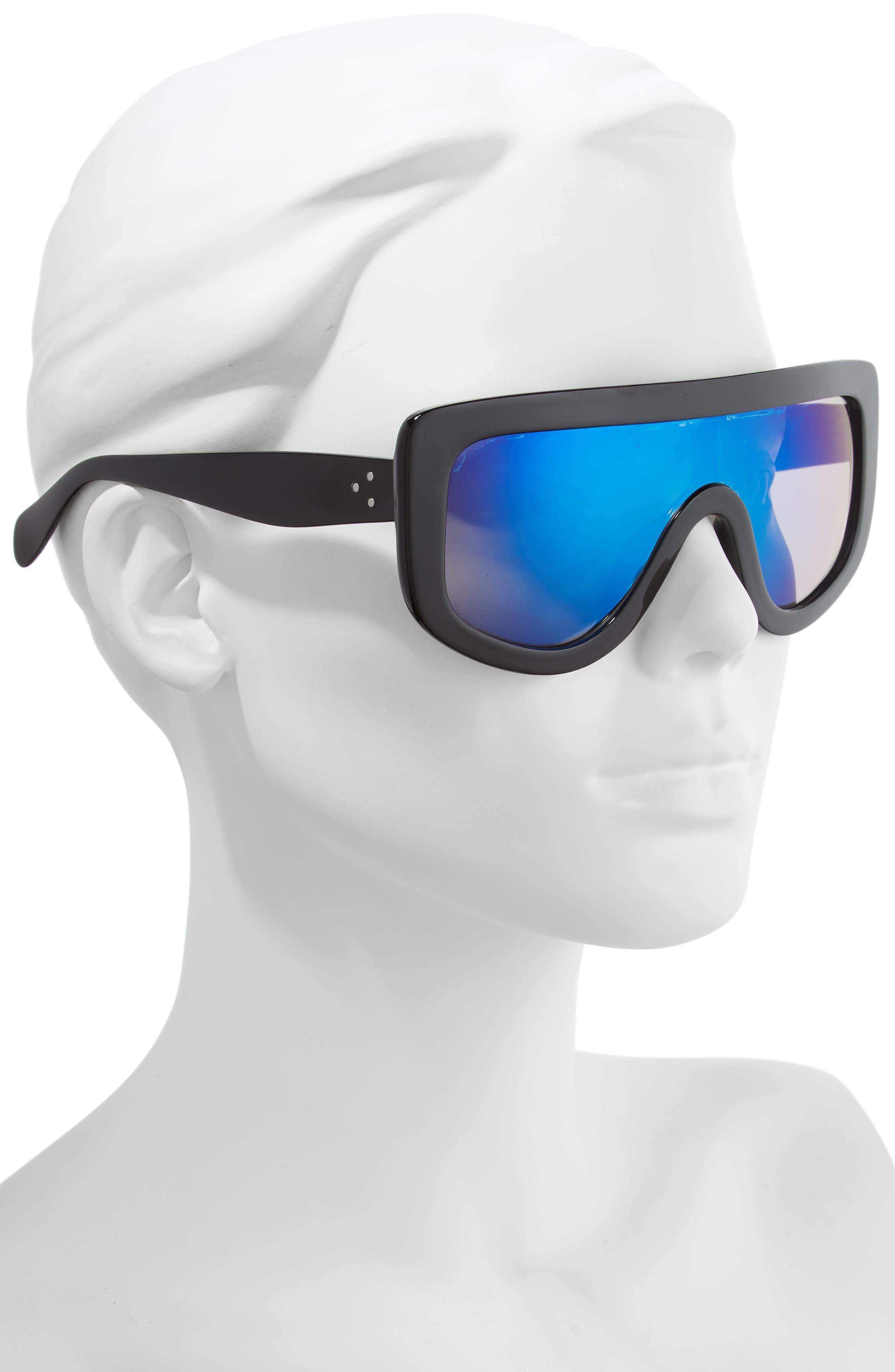 Goggle Shield Sunglasses,                             Alternate thumbnail 2, color,                             BLACK/ BLUE