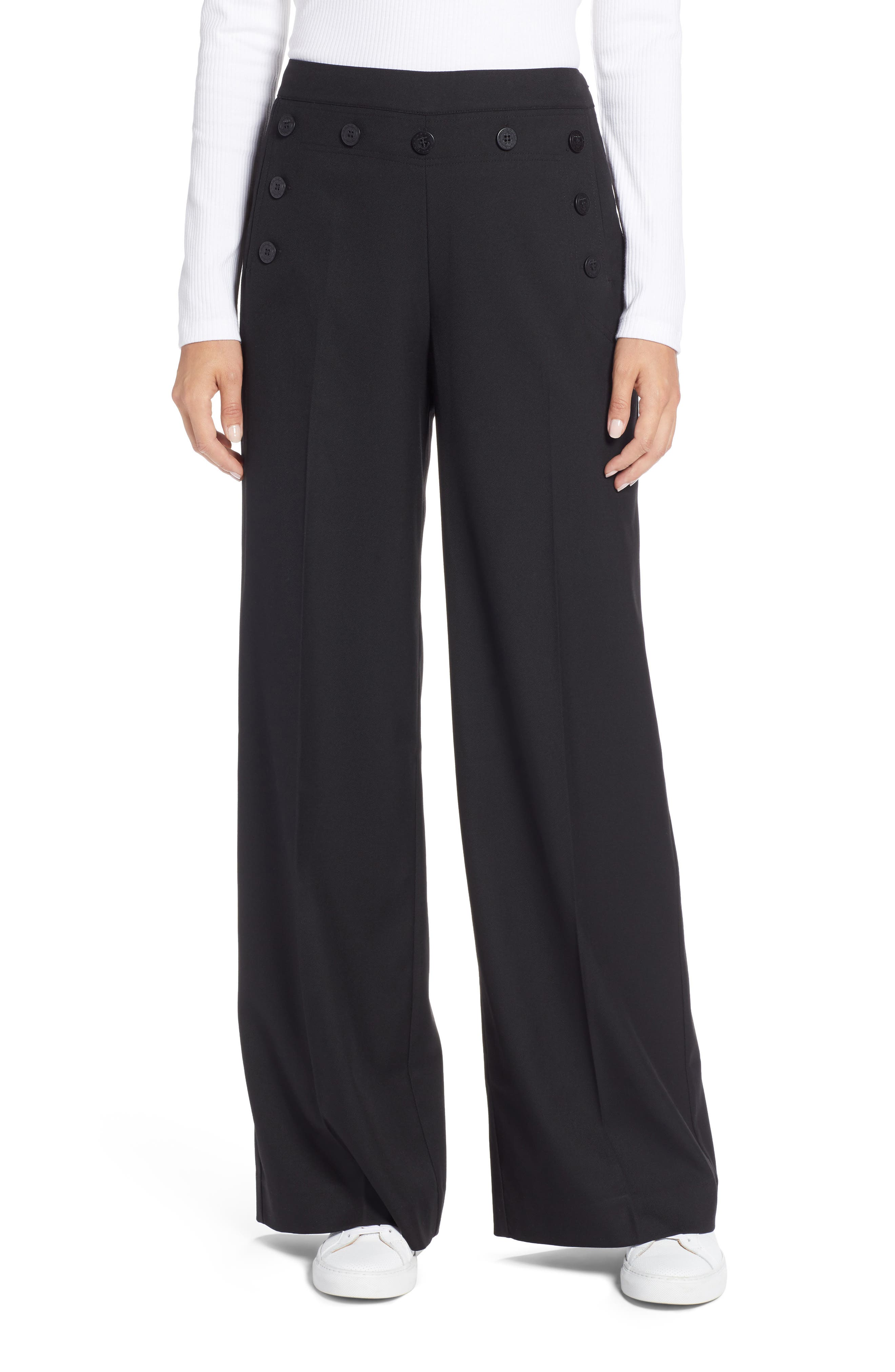 Button Detail Wide Leg Sailor Pants,                         Main,                         color, 001