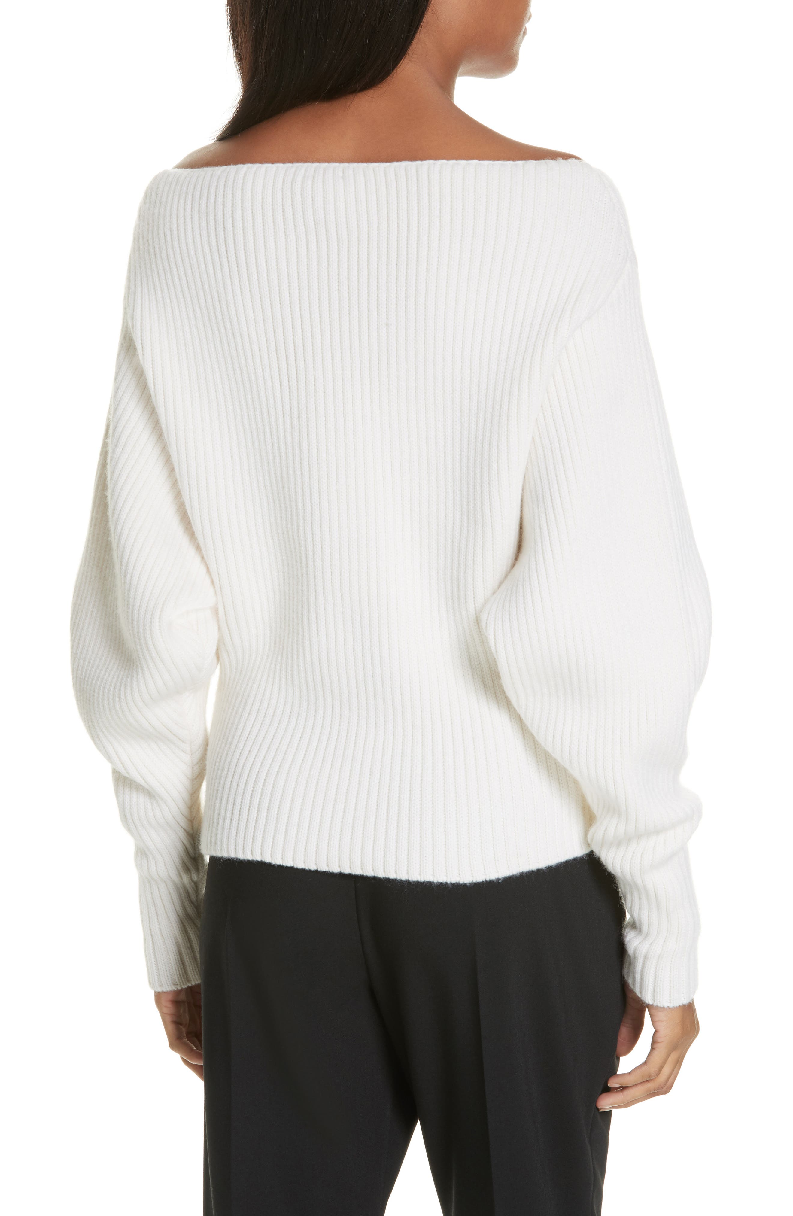 Off the Shoulder Wool & Cashmere Sweater,                             Alternate thumbnail 2, color,                             CREAM