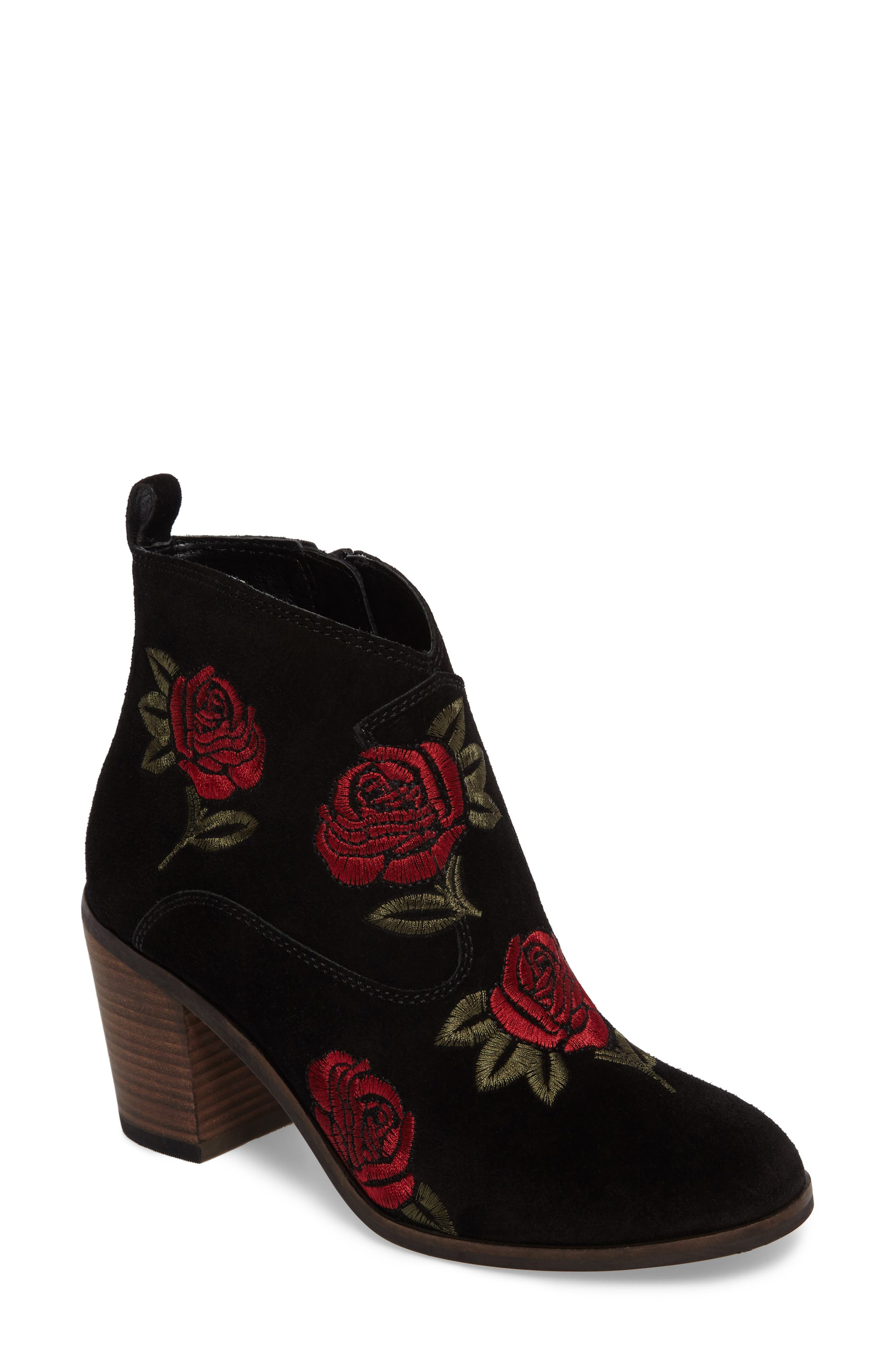 Pexton Embroidered Bootie,                             Main thumbnail 1, color,                             002