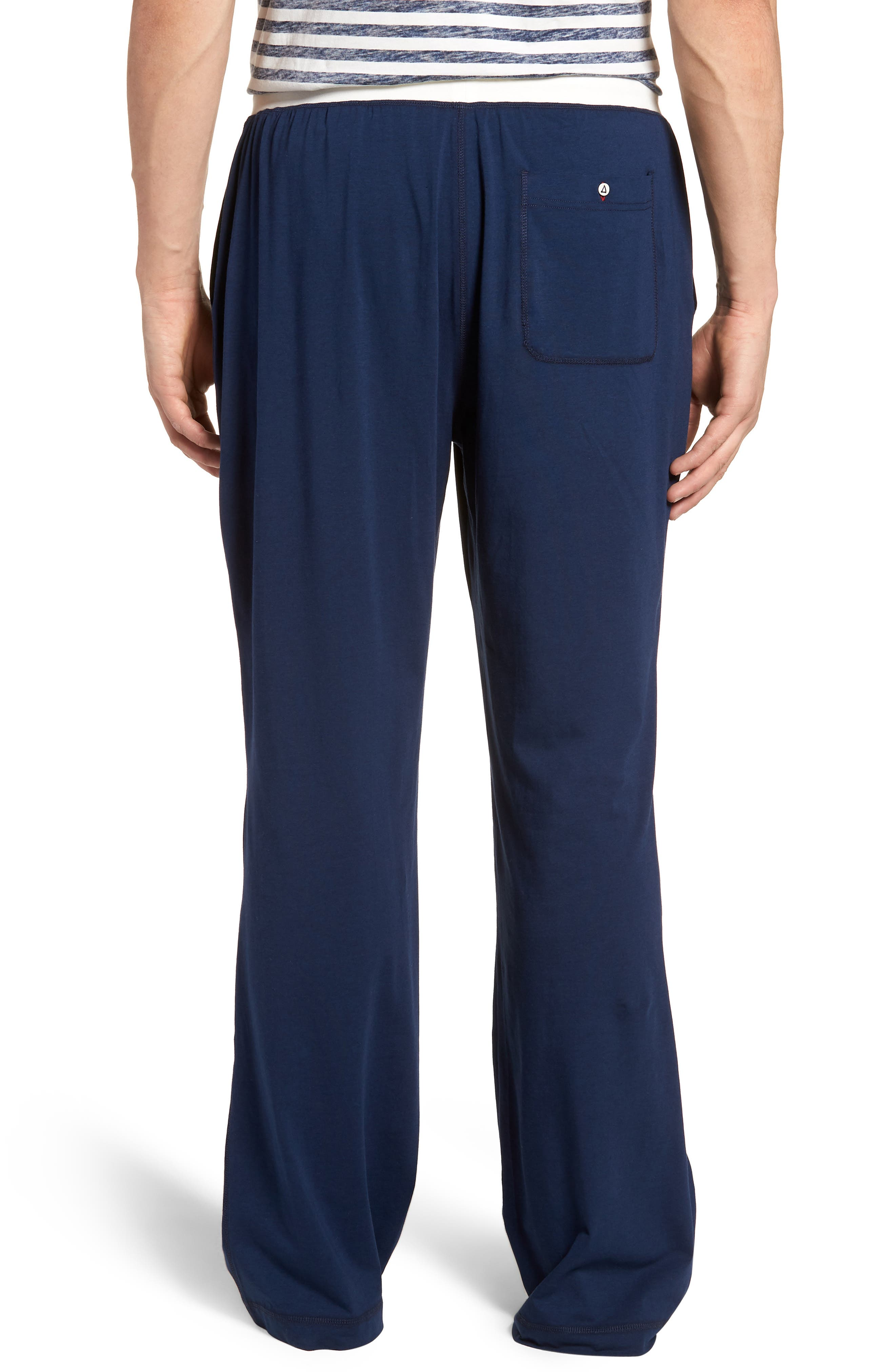 Stretch Cotton & Modal Blend Lounge Pants,                             Alternate thumbnail 2, color,                             NAVY