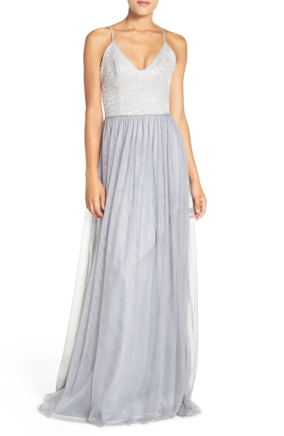 Metallic Lace & Tulle Spaghetti Strap Gown,                             Main thumbnail 1, color,                             040