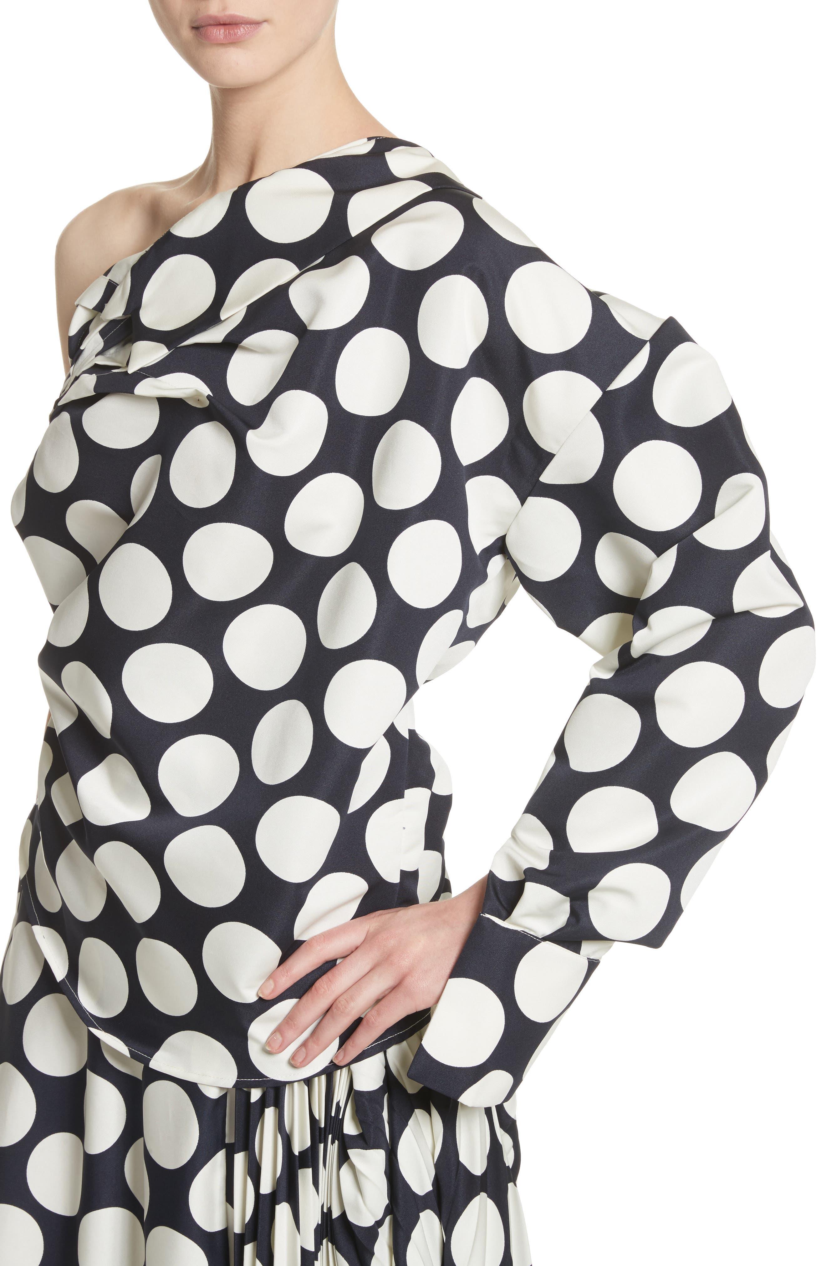Giant Polka Dot Twisted One-Shoulder Top,                             Alternate thumbnail 4, color,                             410