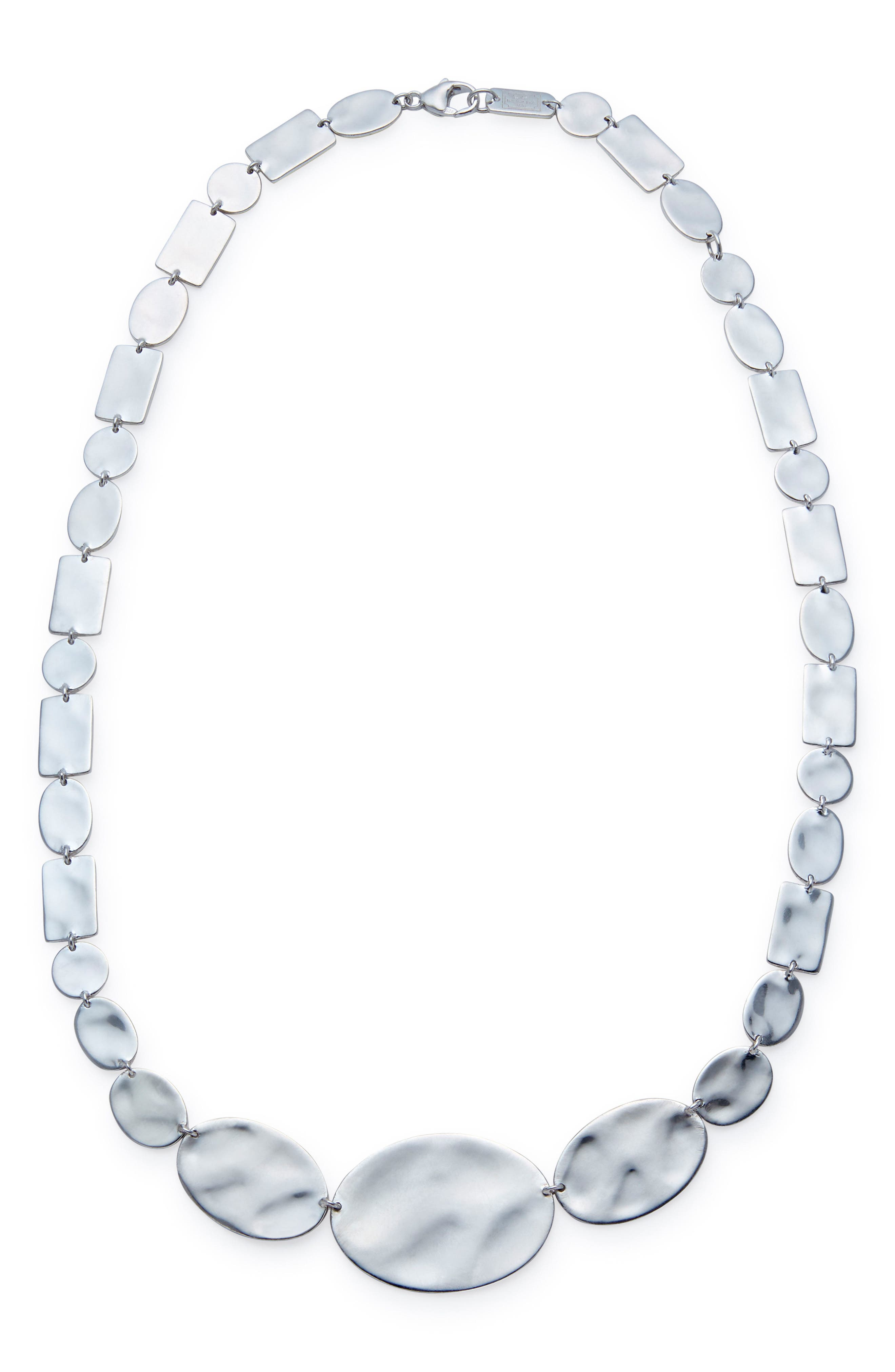 Senso Sterling Disc Necklace,                         Main,                         color, SILVER