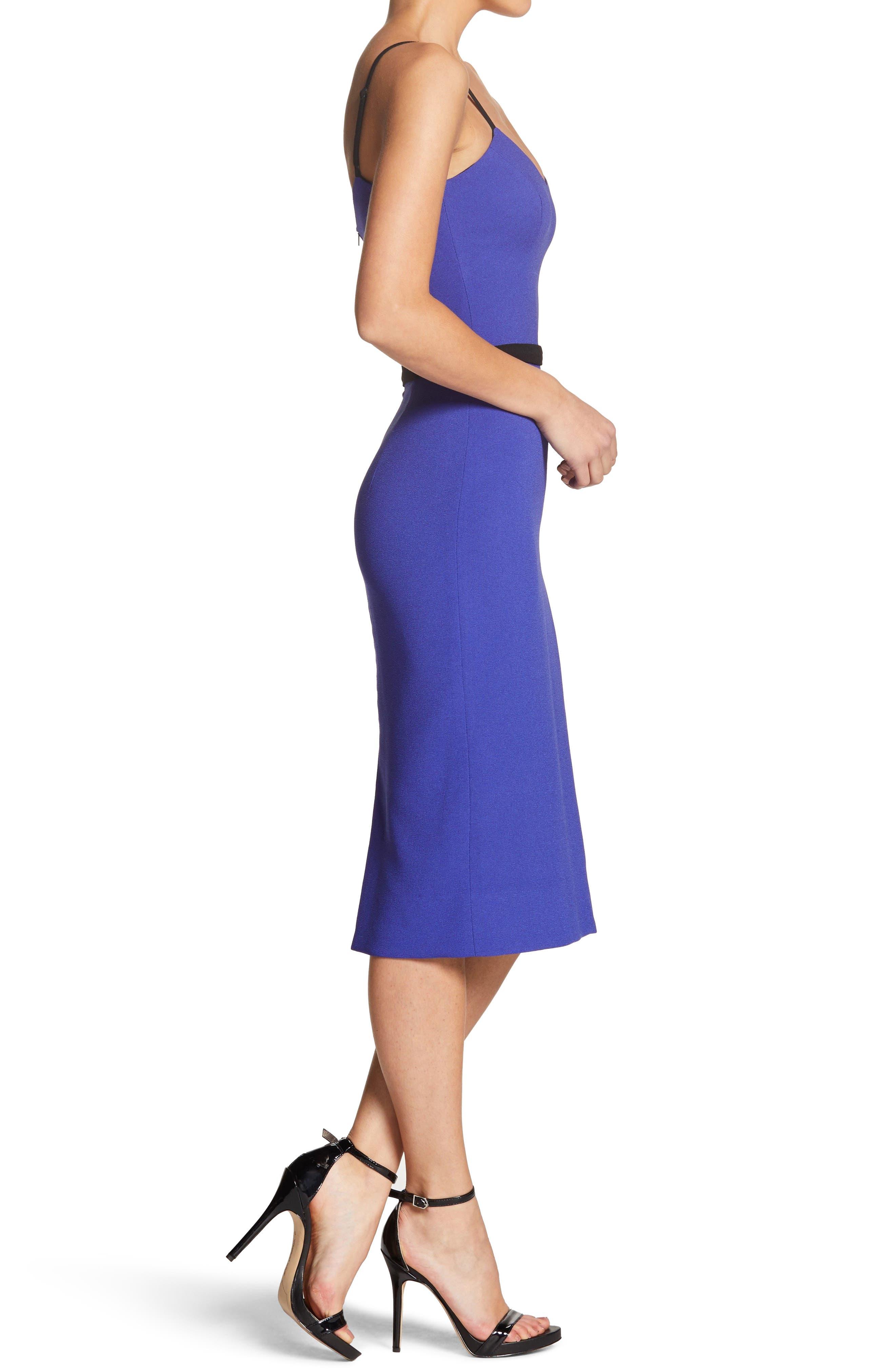 Emma Spaghetti Strap Body-Con Dress,                             Alternate thumbnail 3, color,                             BLUE/ VIOLET