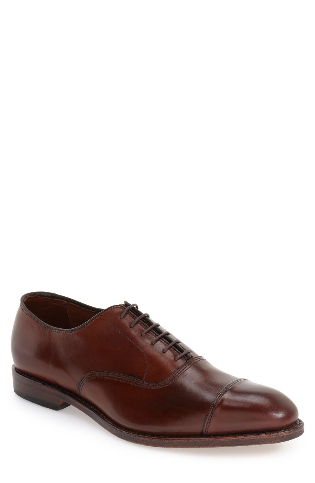 'Park Avenue' Cap Toe Oxford,                         Main,                         color, DARK CHILI BURNISHED