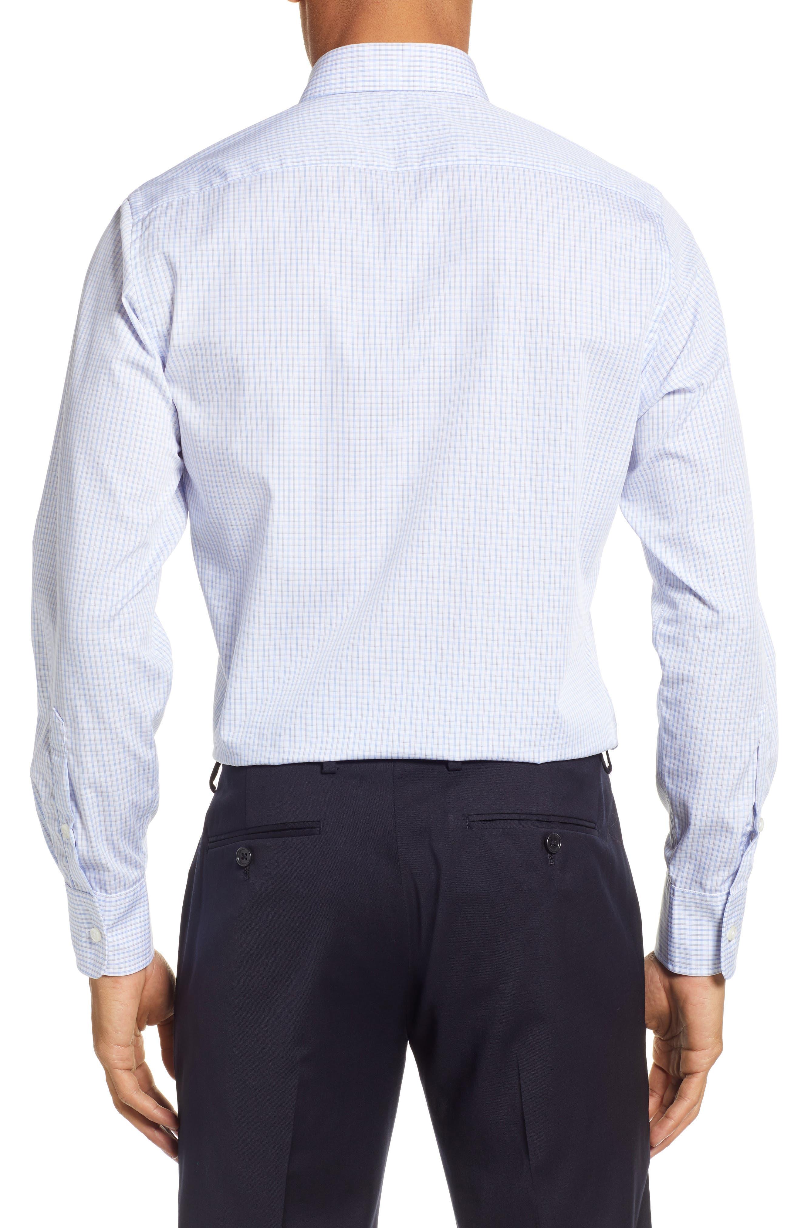 Classic Fit Check Dress Shirt,                             Alternate thumbnail 3, color,                             BROWN