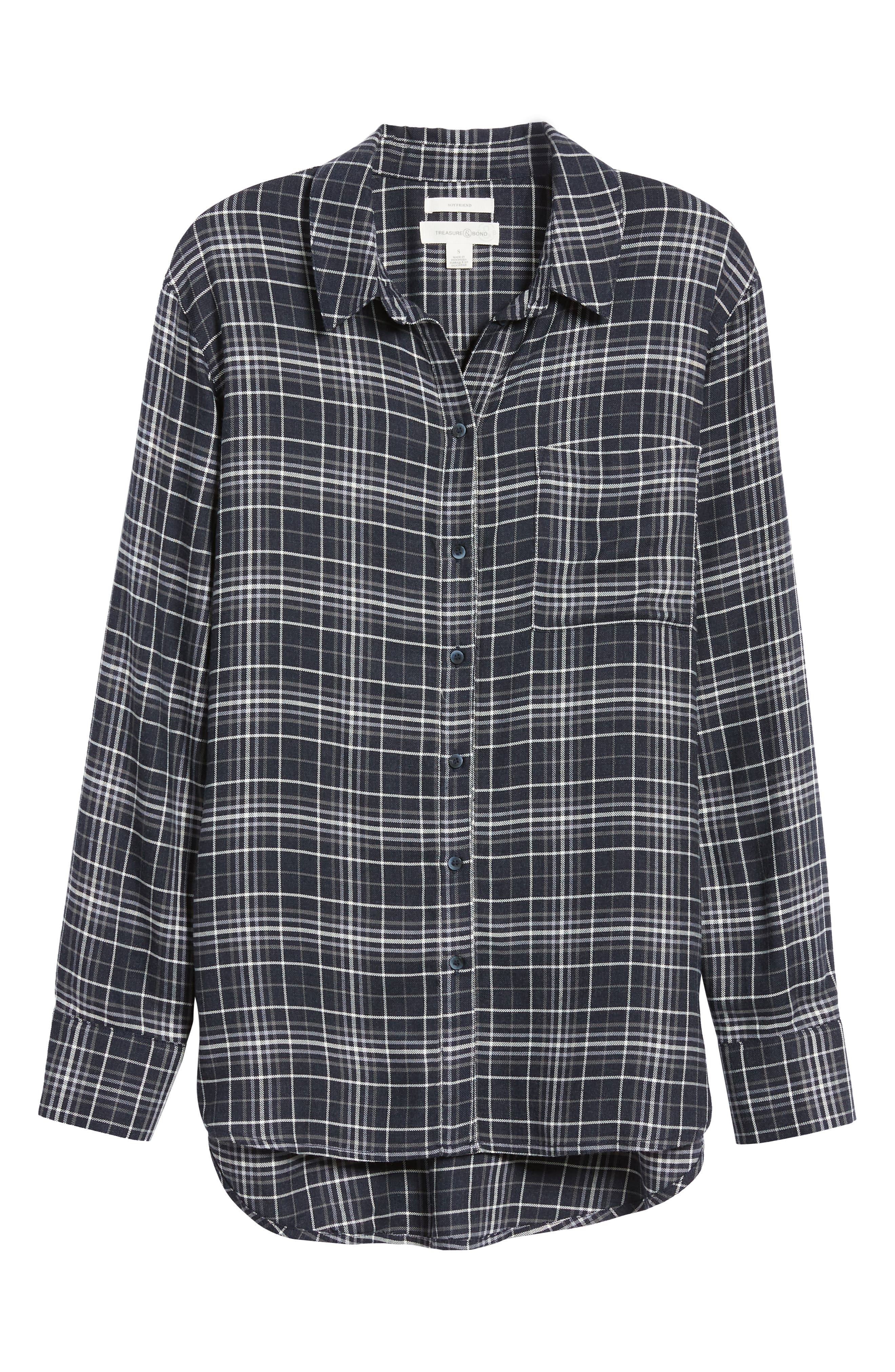 Plaid Boyfriend Shirt,                             Alternate thumbnail 6, color,                             NAVY NIGHT DOUBLE WINDOW PANE