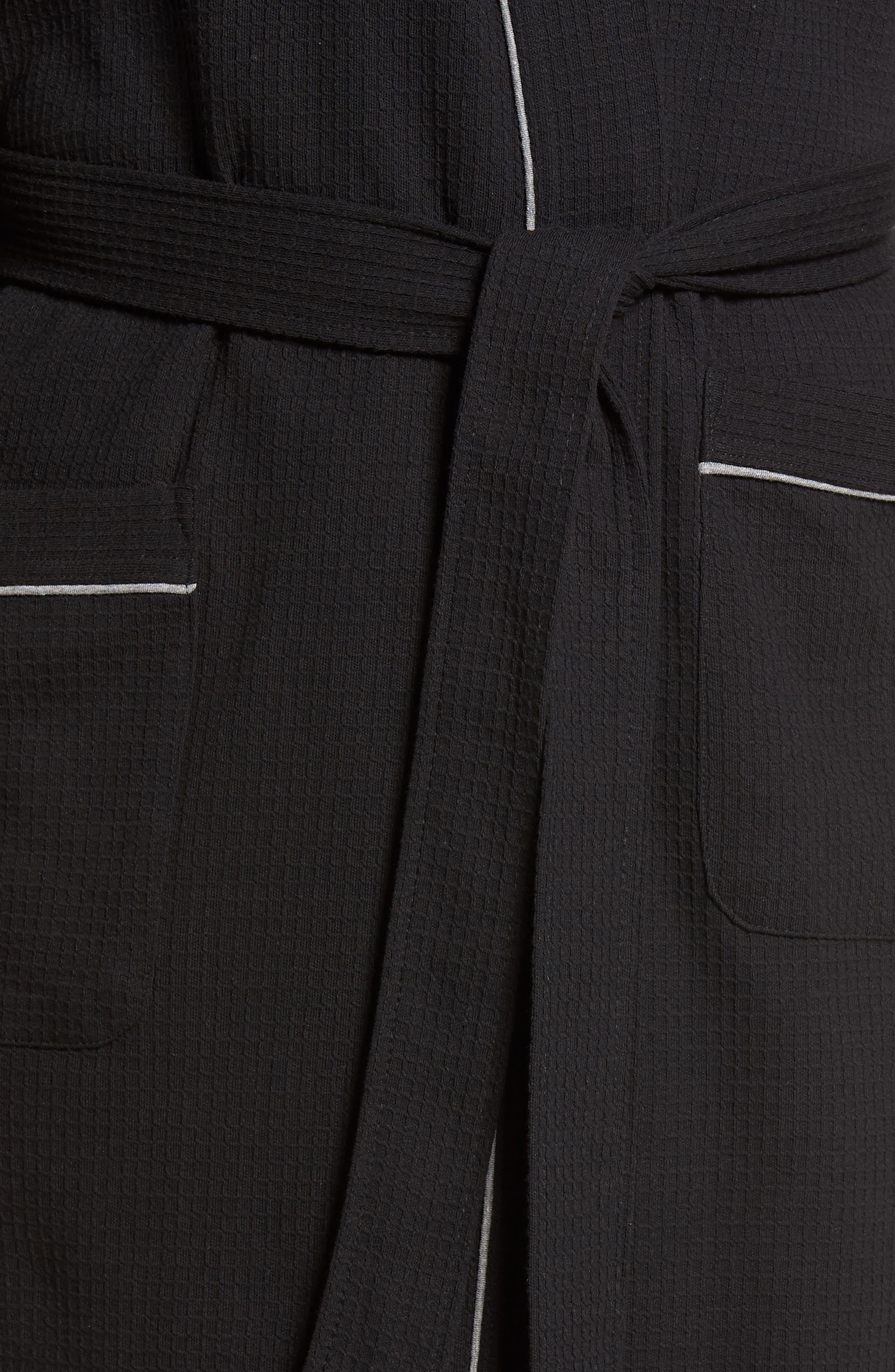 Waffle Knit Robe,                             Alternate thumbnail 4, color,                             BLACK
