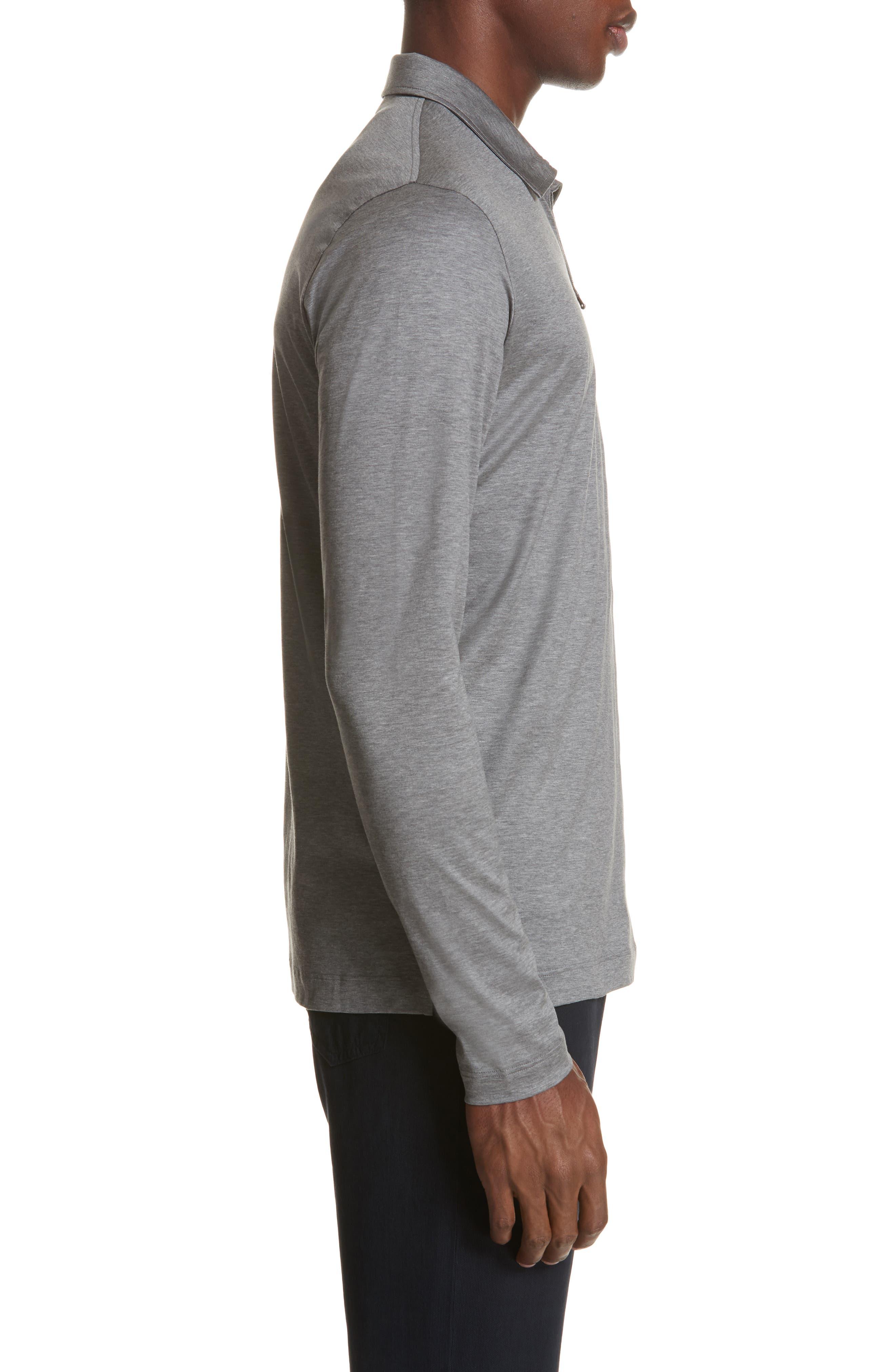 Cotton Quarter Zip Polo Shirt,                             Alternate thumbnail 3, color,                             020
