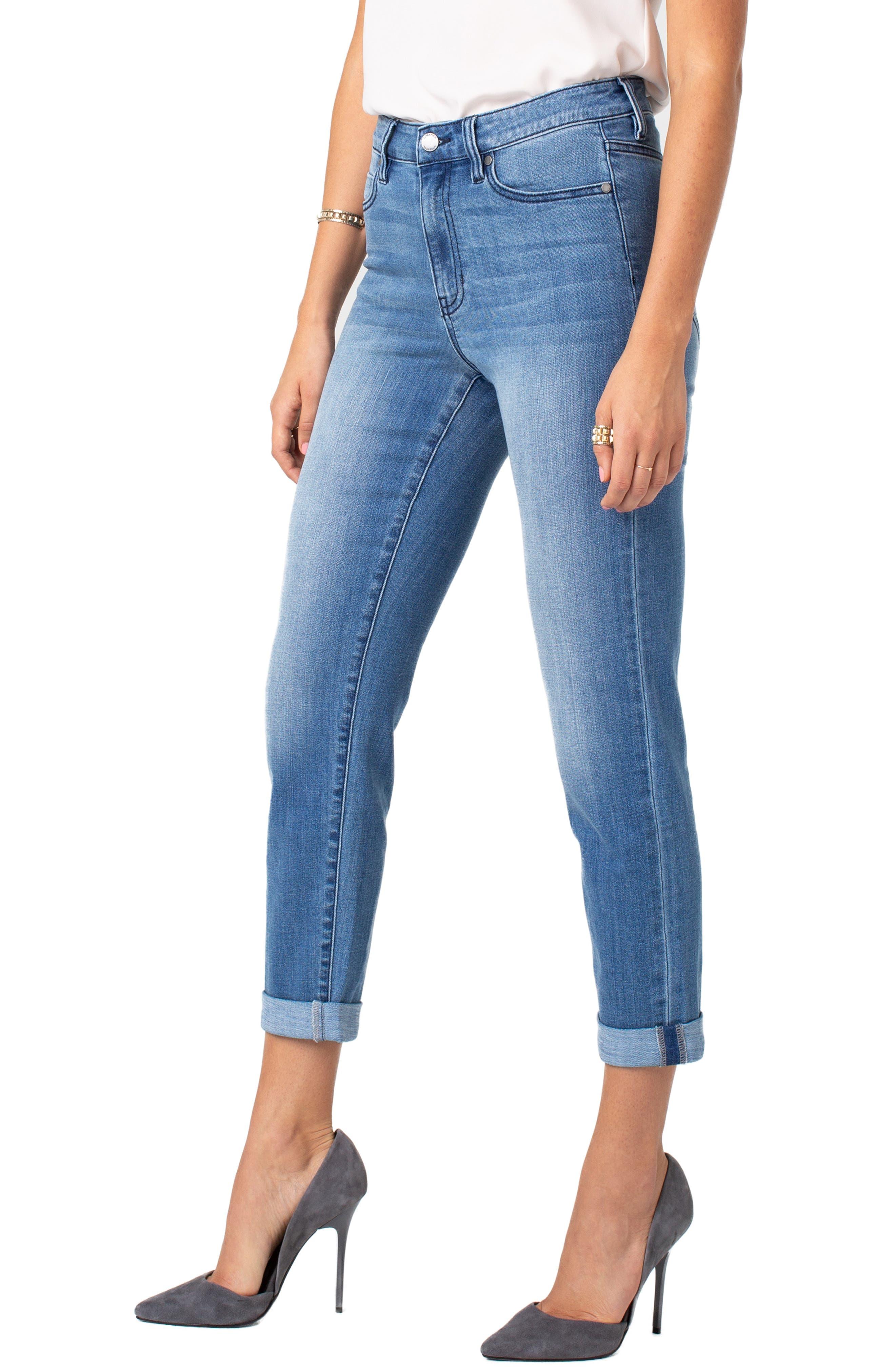 LIVERPOOL Marley High Waist Girlfriend Jeans, Main, color, CRESTLAKE