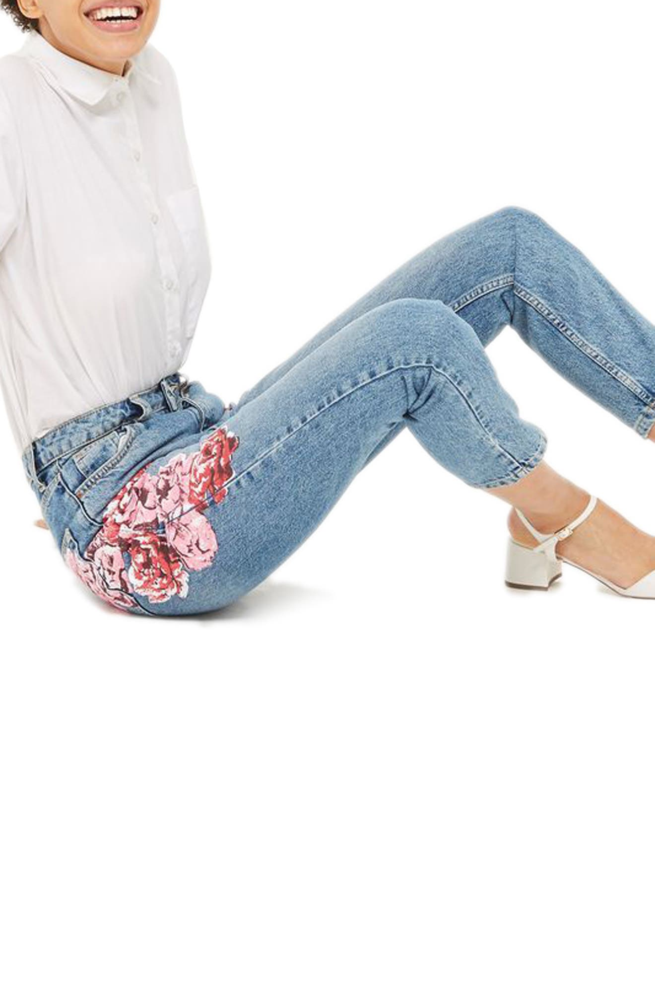 Peony Print Crop Mom Jeans,                             Alternate thumbnail 3, color,                             420