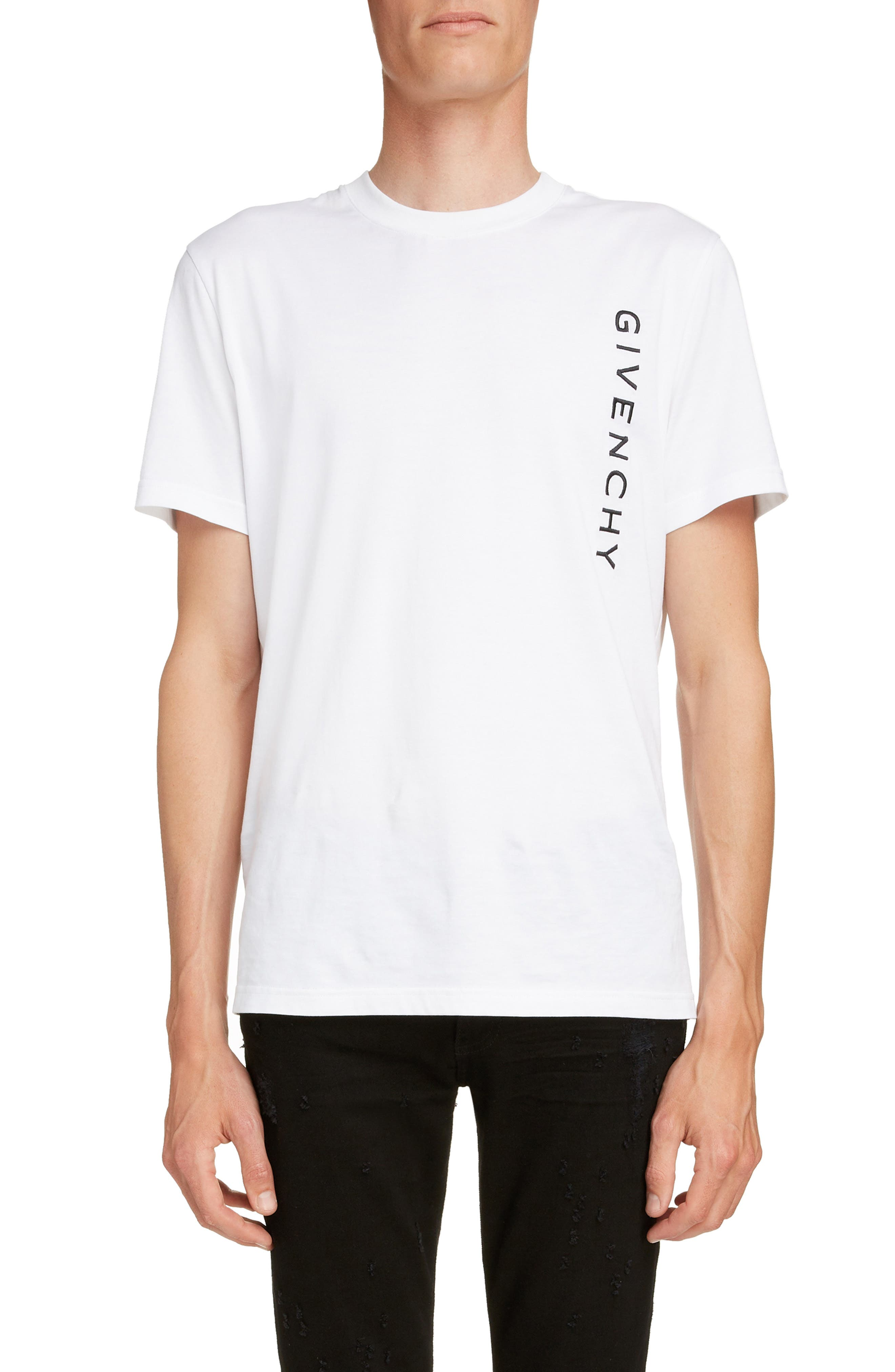 Vertical Logo Embroidered T-Shirt, Main, color, WHITE