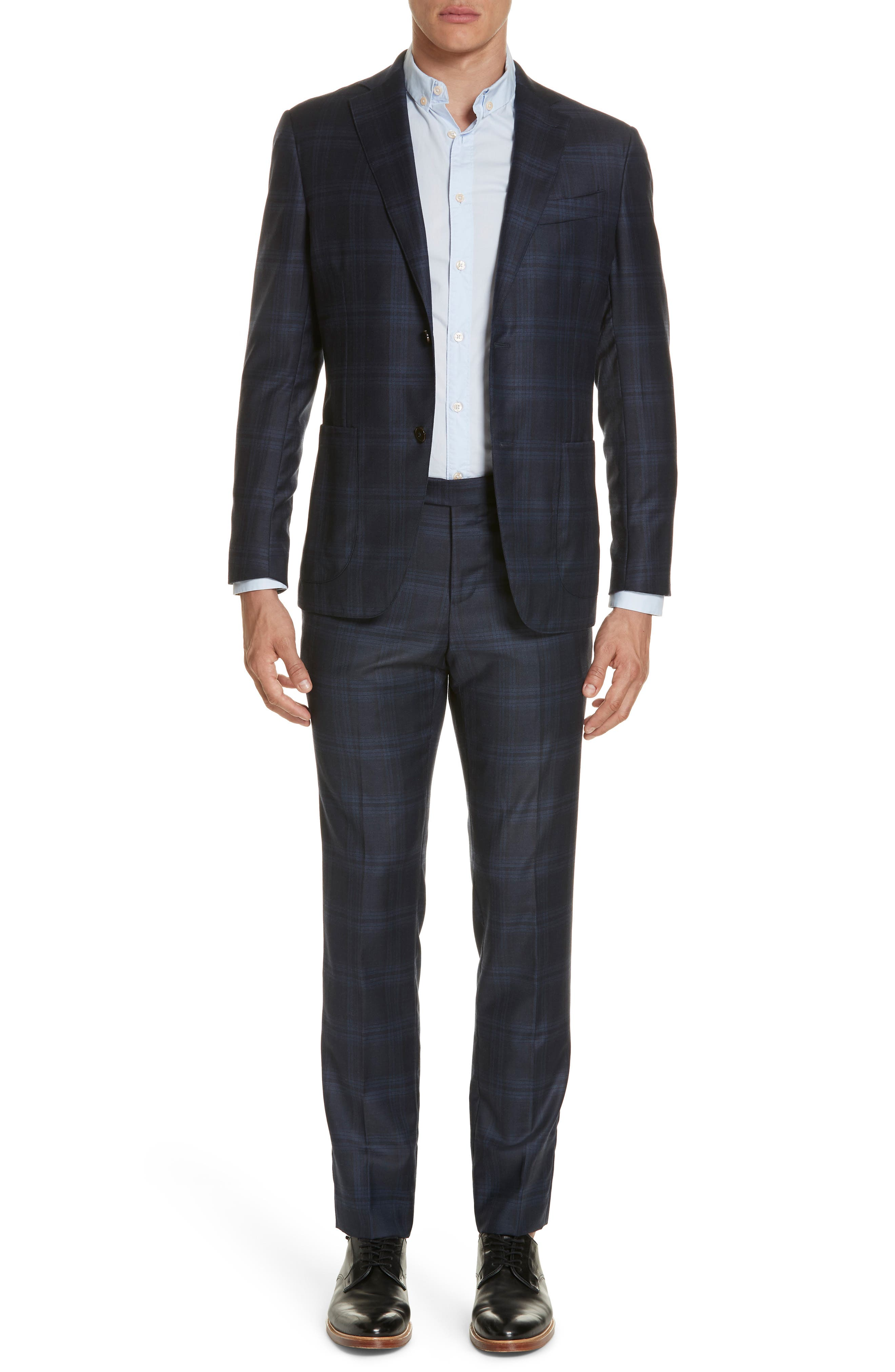Trim Fit Plaid Wool & Cashmere Suit,                             Main thumbnail 1, color,                             CHARCOAL/ BLUE