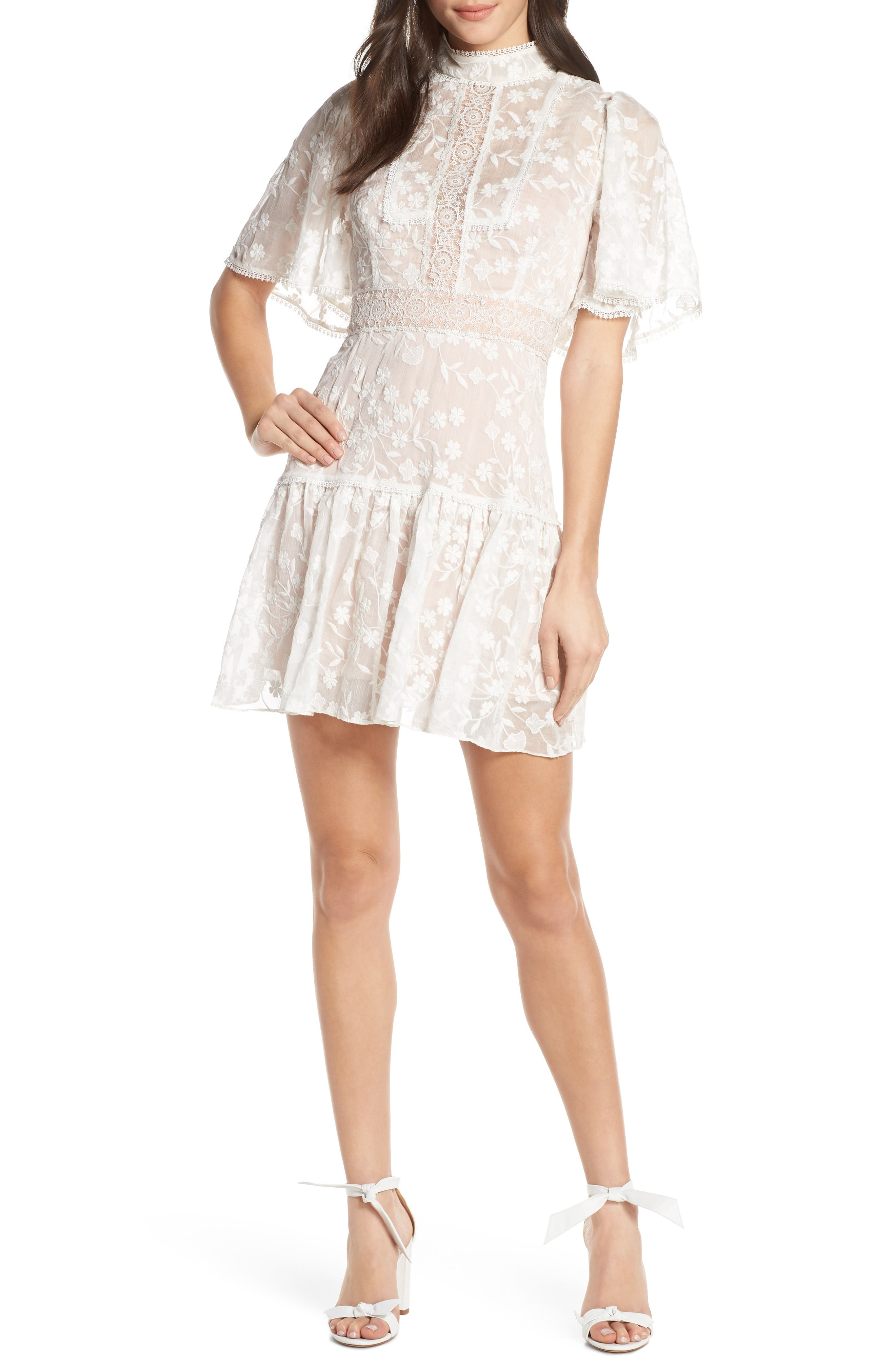 Embroidered Flutter Sleeve Minidress by Ever New