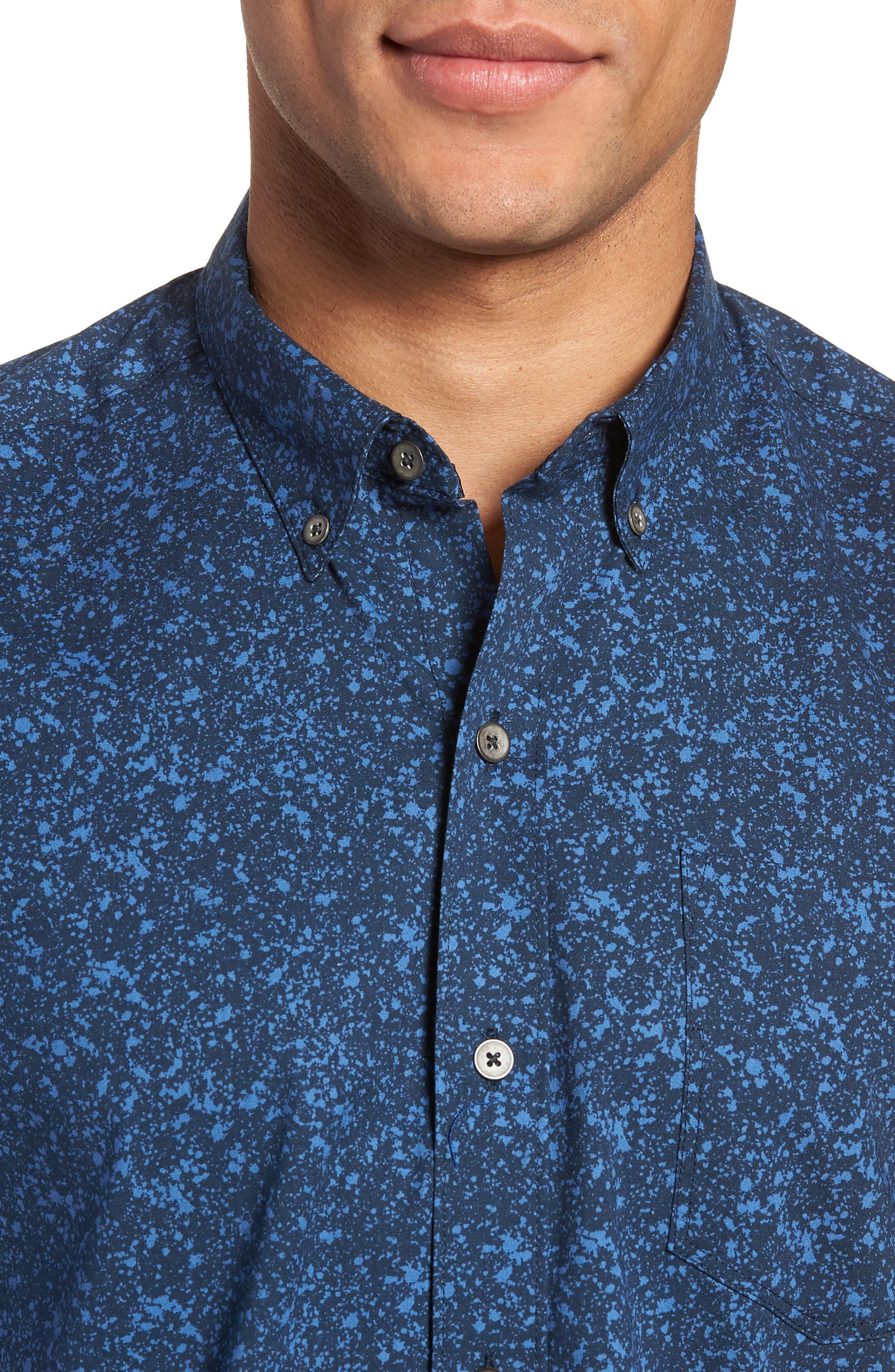 Slim Fit Splatter Sport Shirt,                             Alternate thumbnail 4, color,                             410