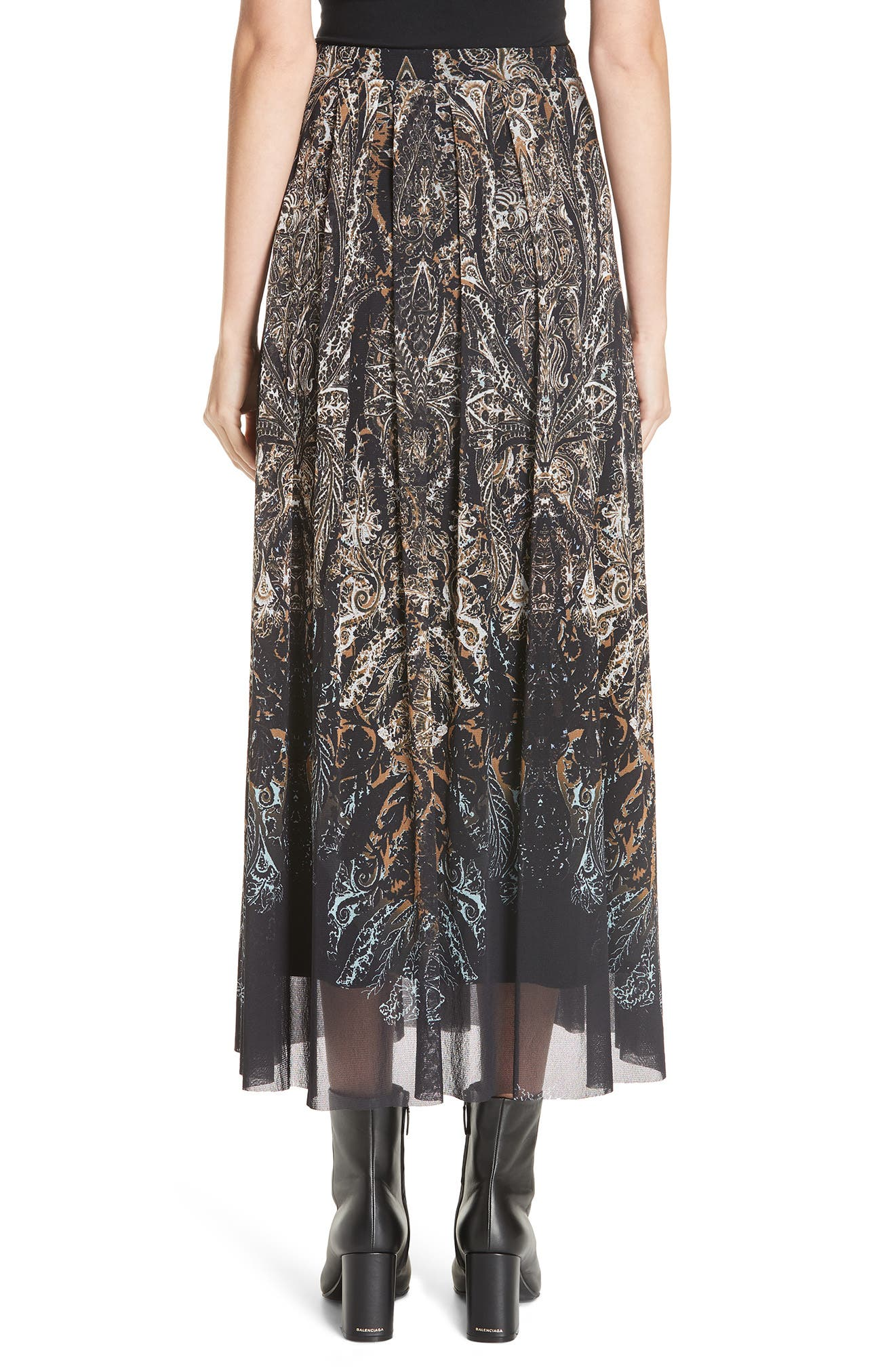 Paisley Tulle Midi Skirt,                             Alternate thumbnail 2, color,                             NERO