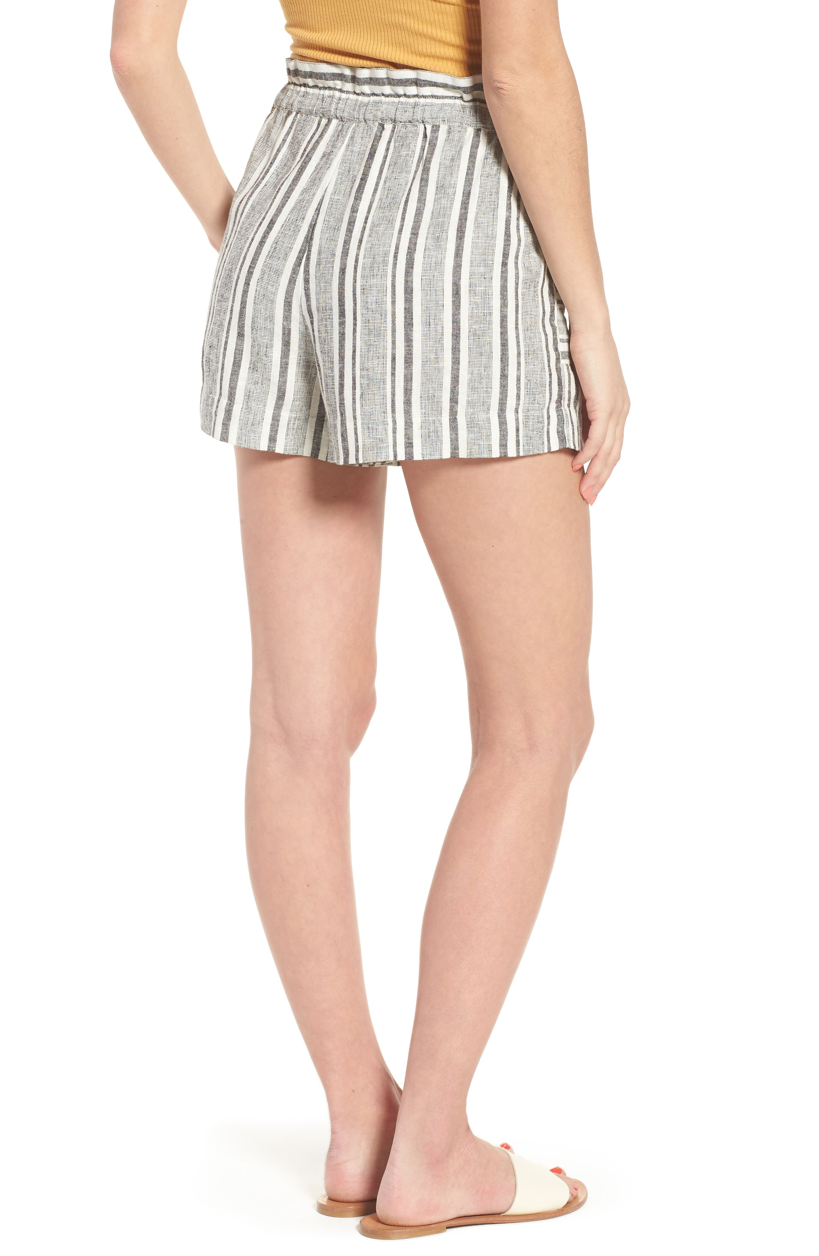 Stripe Linen Blend Shorts,                             Alternate thumbnail 2, color,                             BLACK VIOLA STRIPE