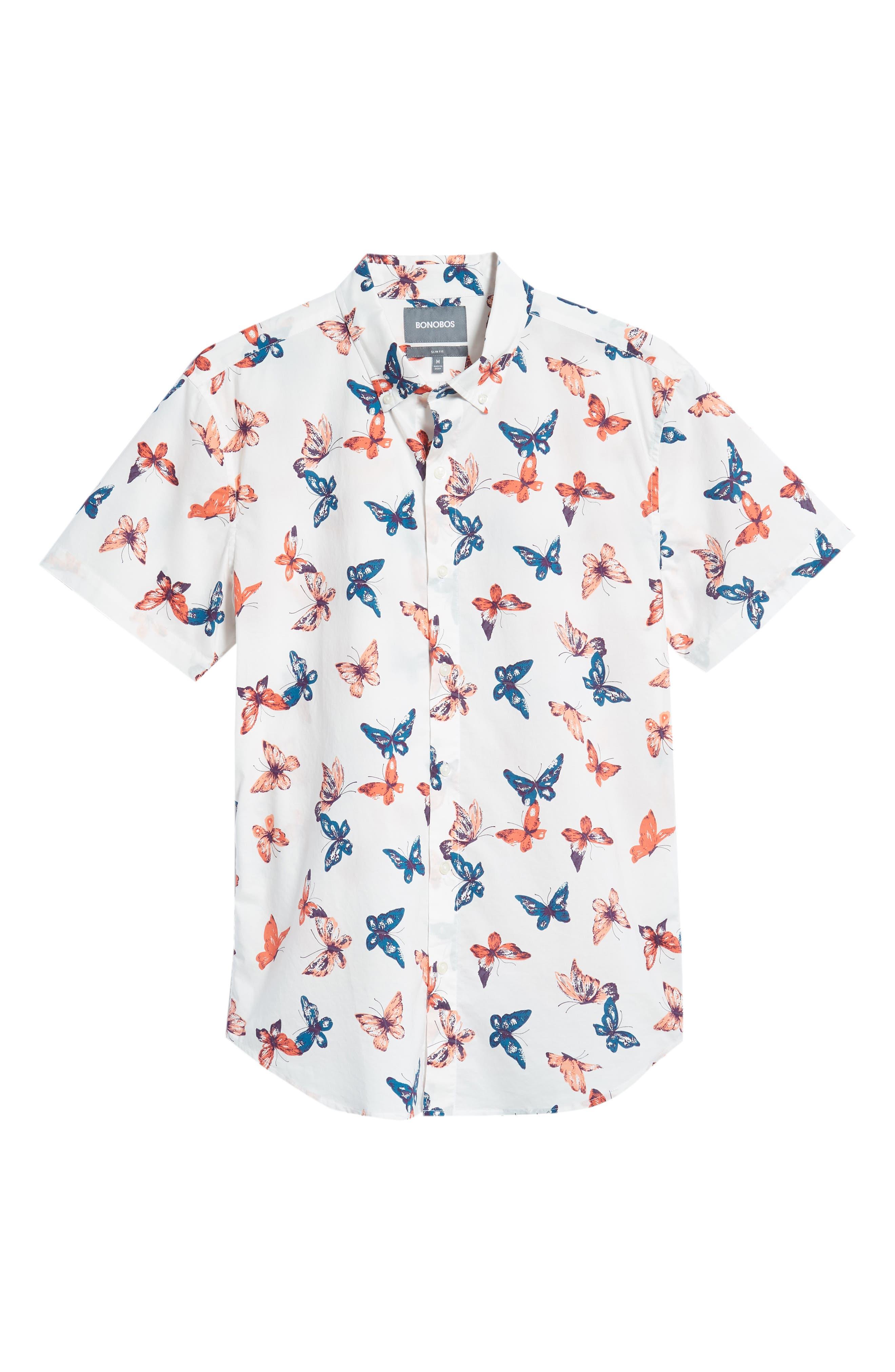 Riviera Butterfly Print Sport Shirt,                             Alternate thumbnail 5, color,                             BIG BUTTERFLIES