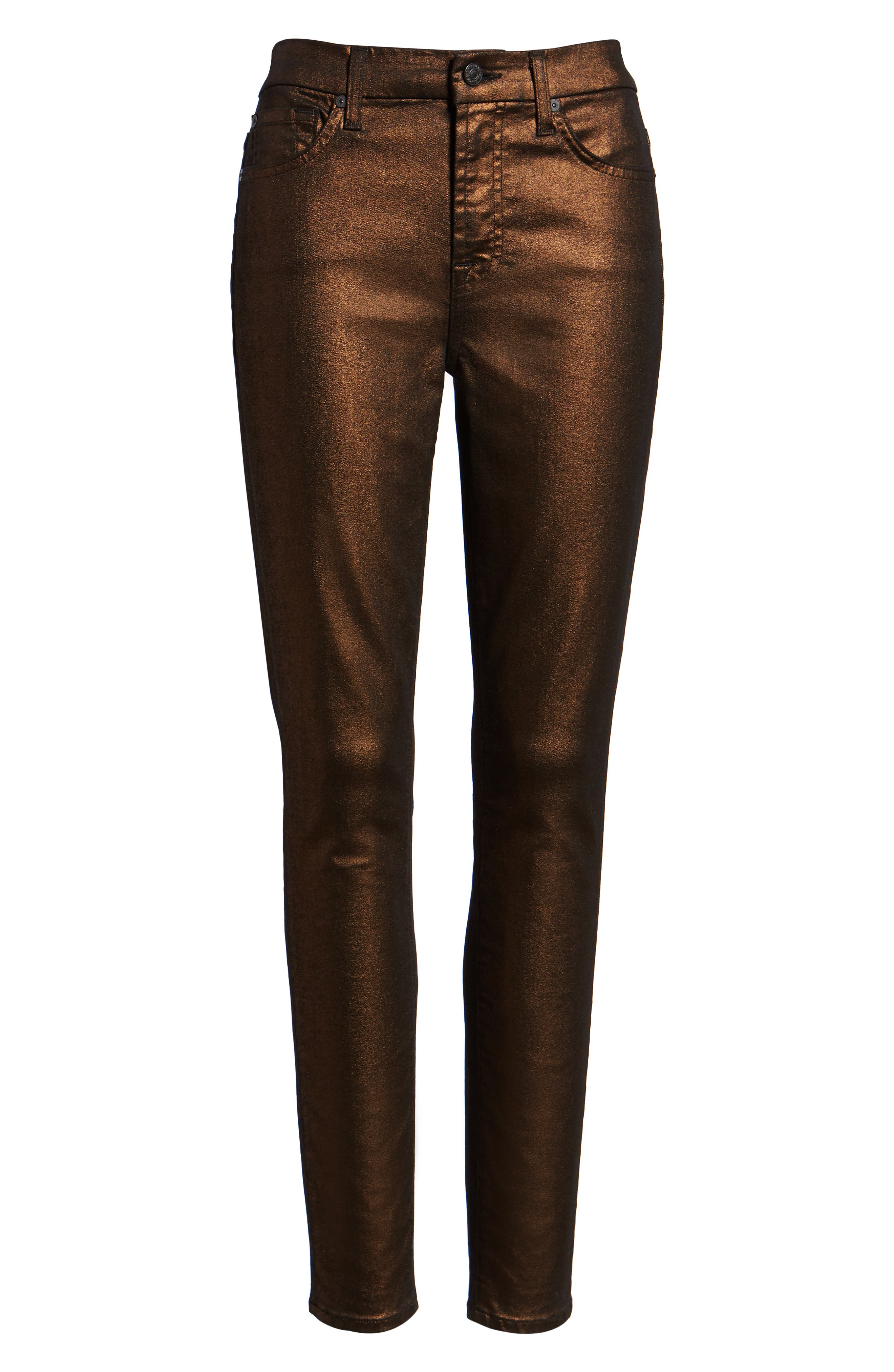 Metallic Ankle Skinny Jeans, Alternate, color, METALLIC TWILL- COPPER