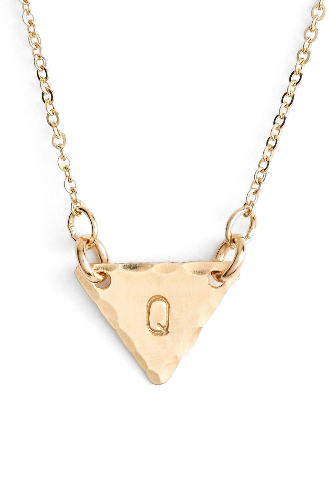 14k-Gold Fill Initial Triangle Necklace,                             Main thumbnail 17, color,